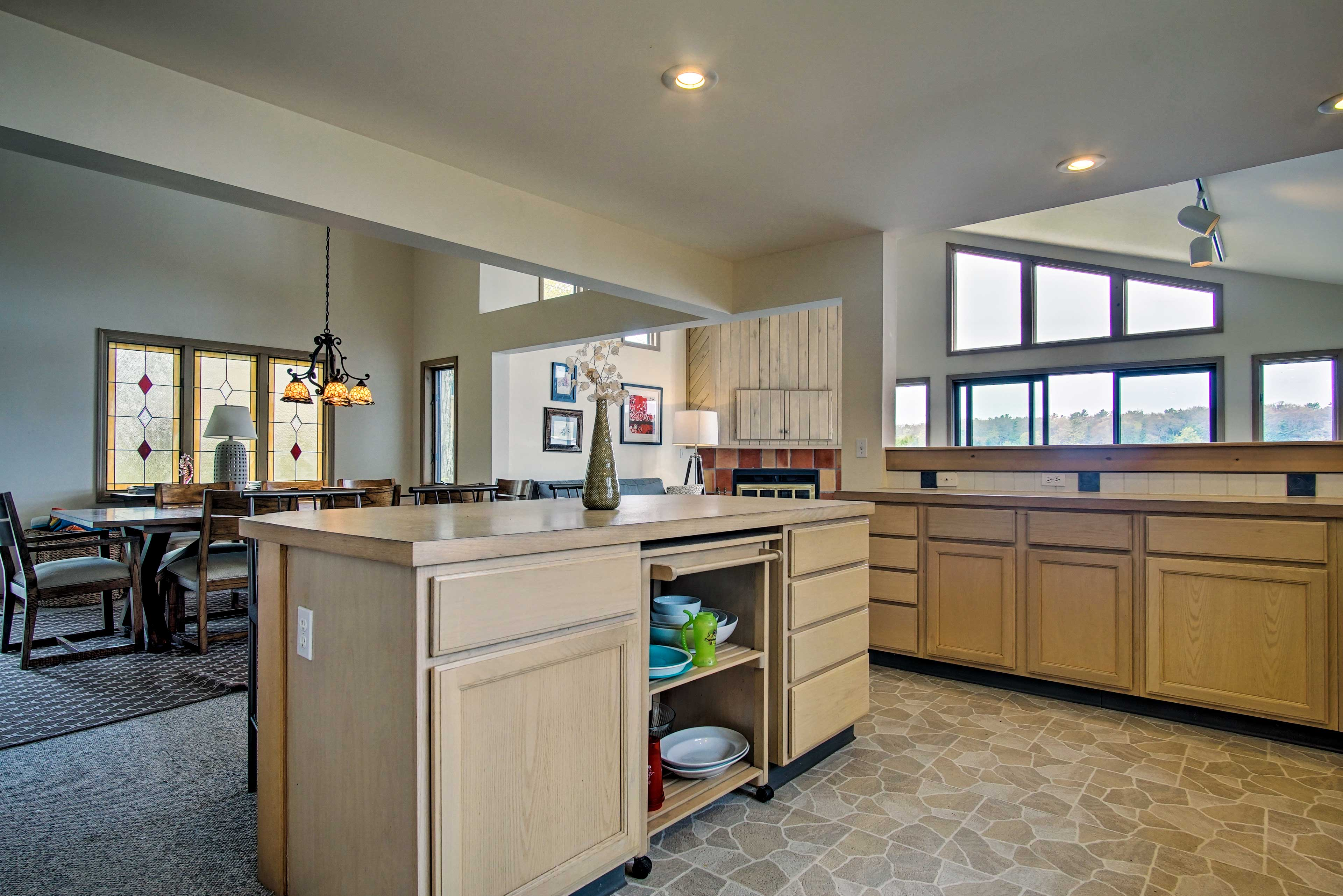 Ample counter space makes preparing meals easy.