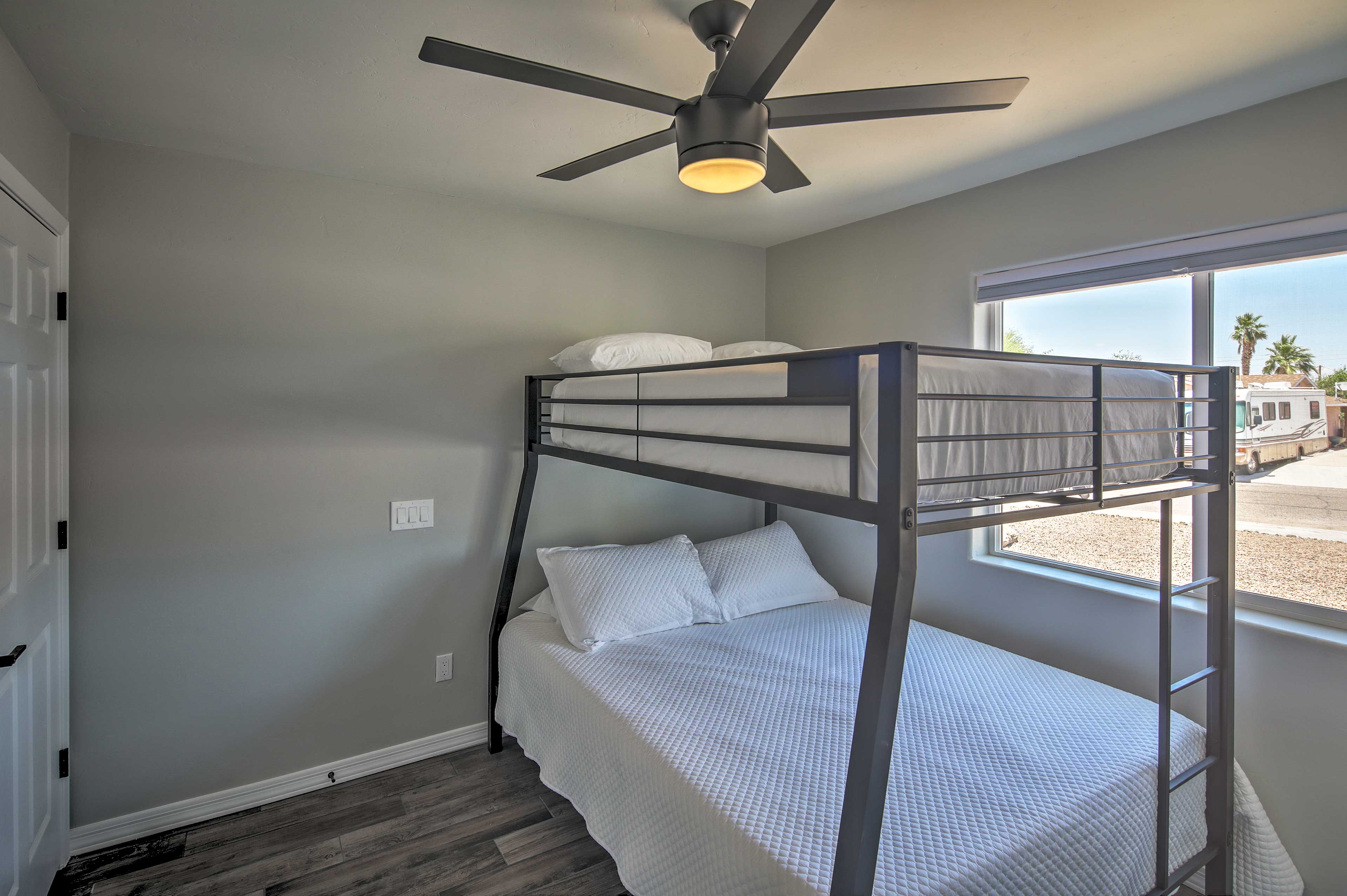 This room includes a twin-over-queen bunk bed.