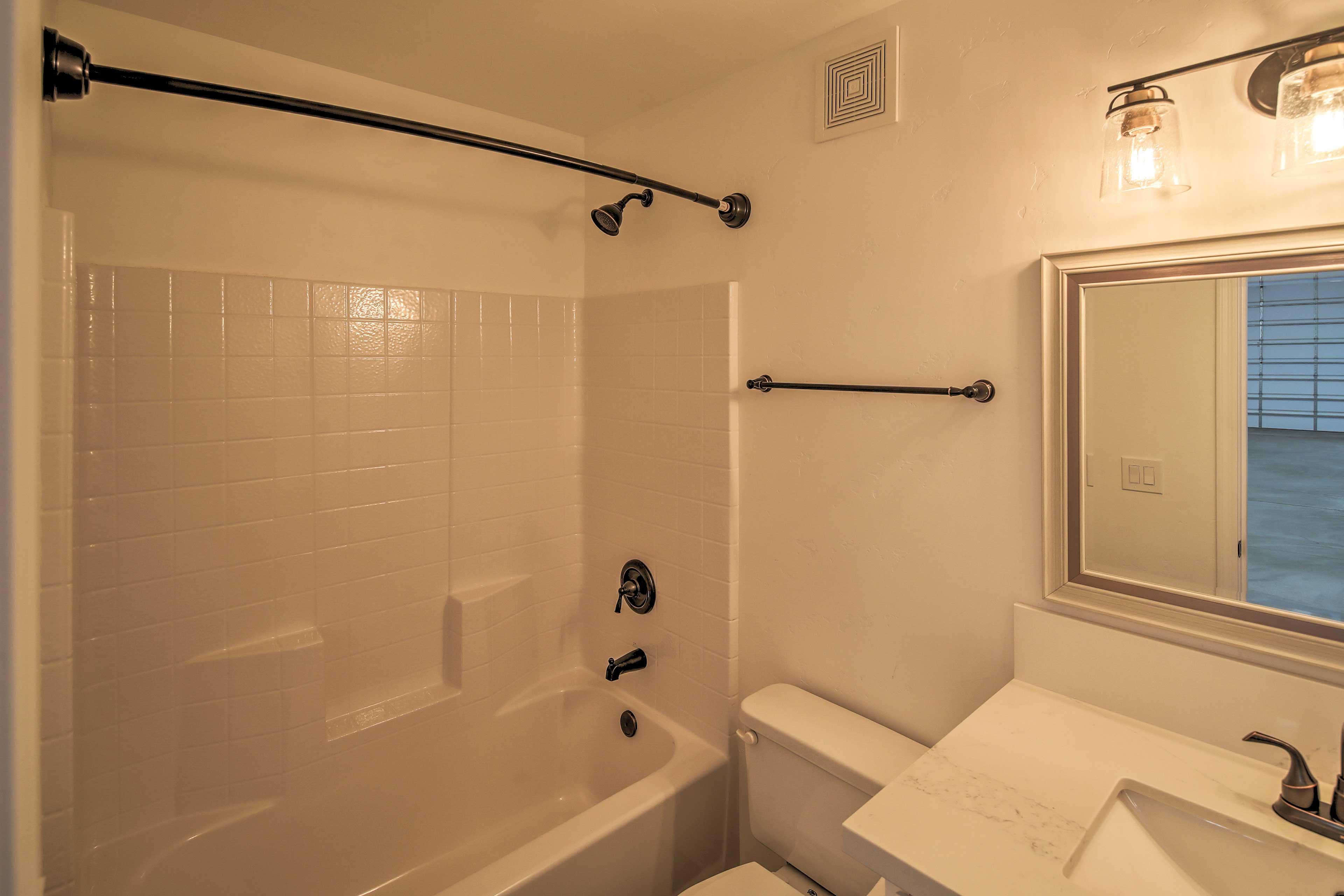 The garage also has a bathroom.