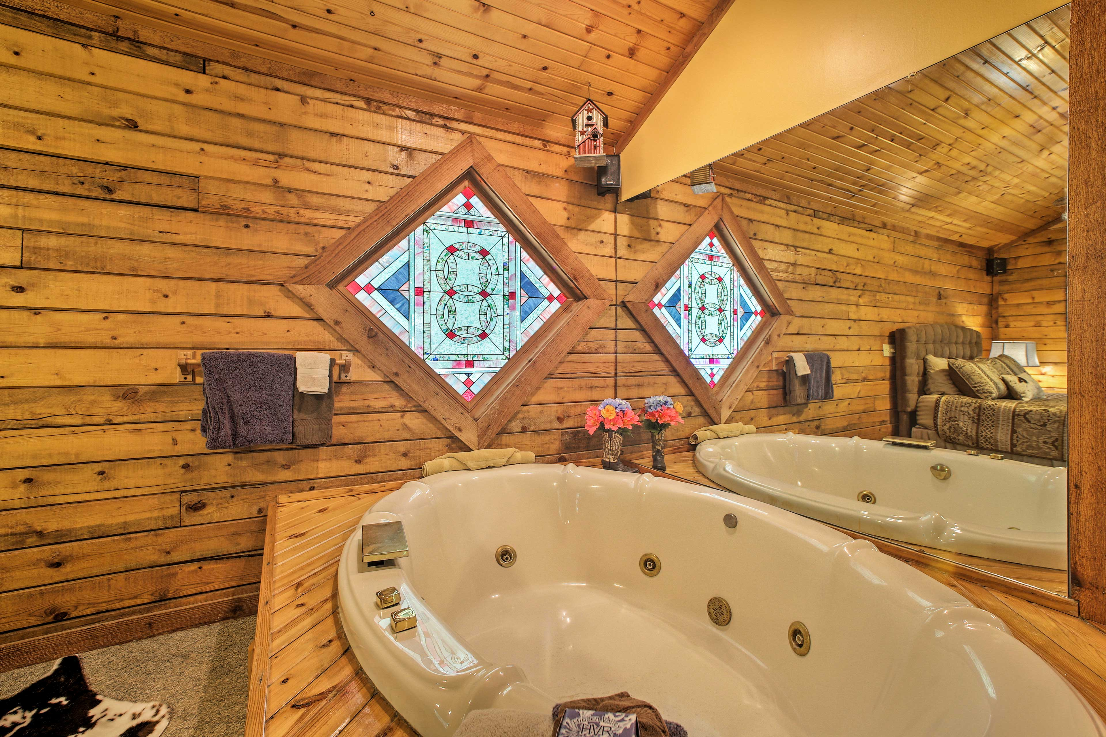 Soothe your muscles in the Jacuzzi tub.