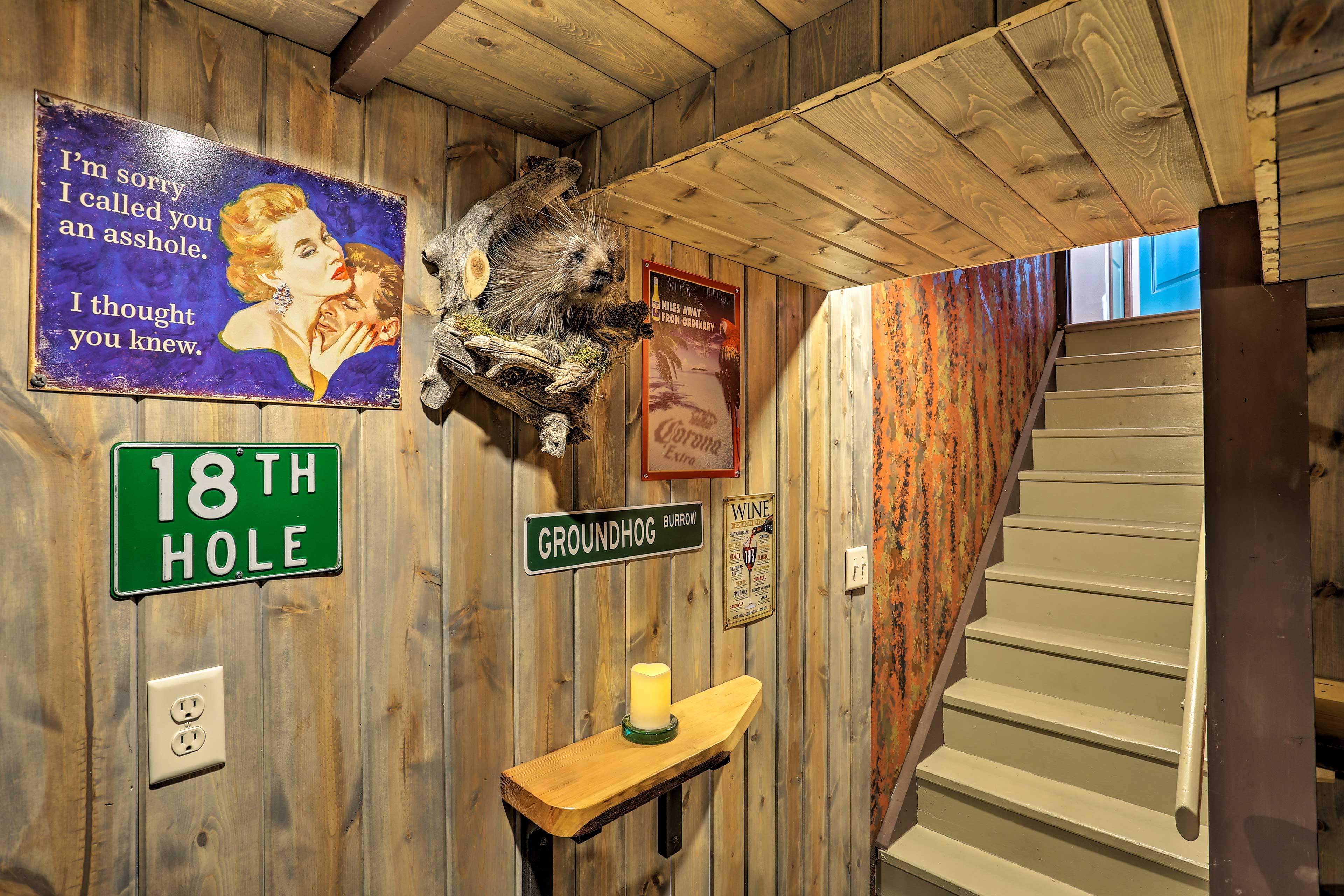 Make your way downstairs to the 'Groundhog Burrow.'