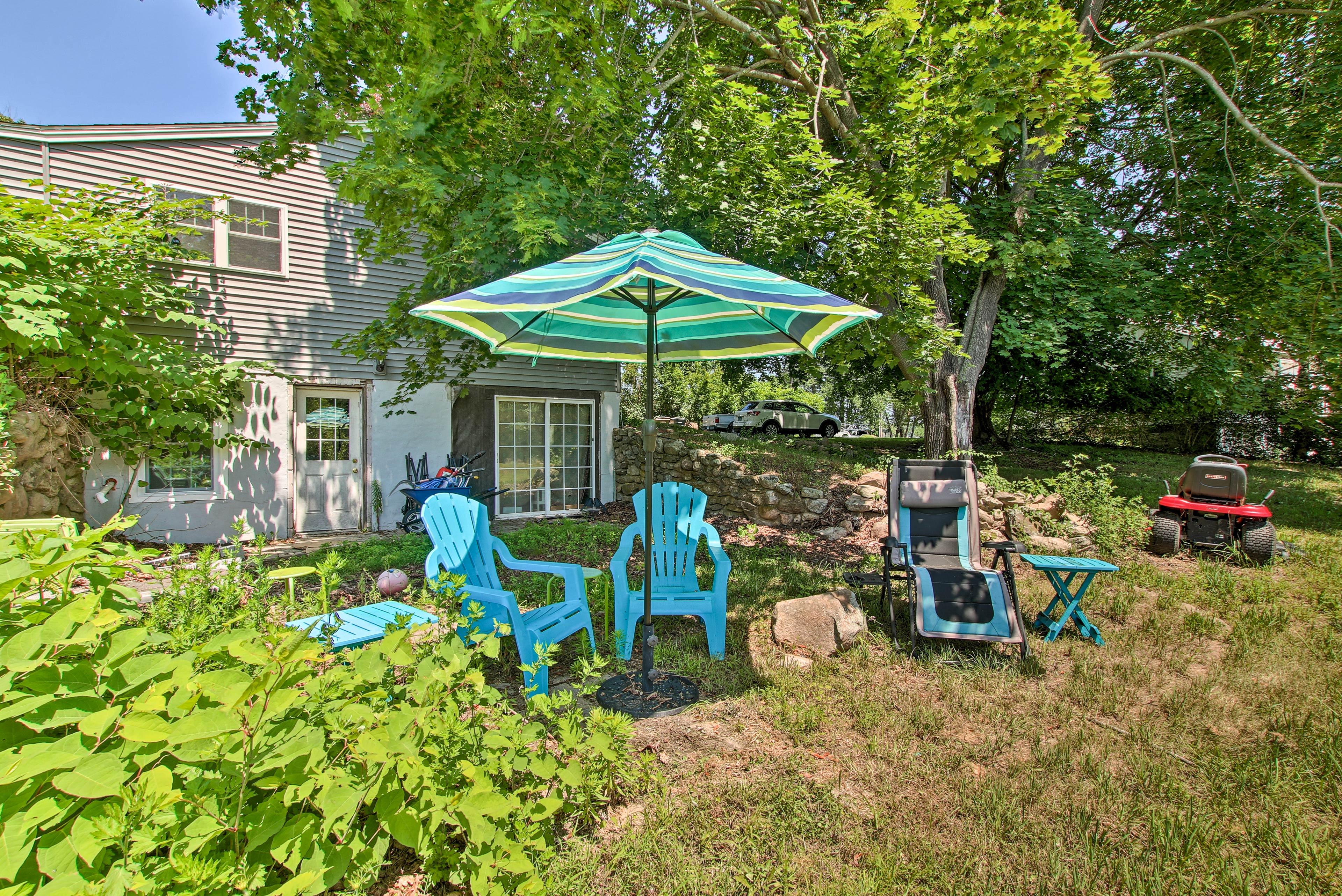 Perfect your tan in the yard.