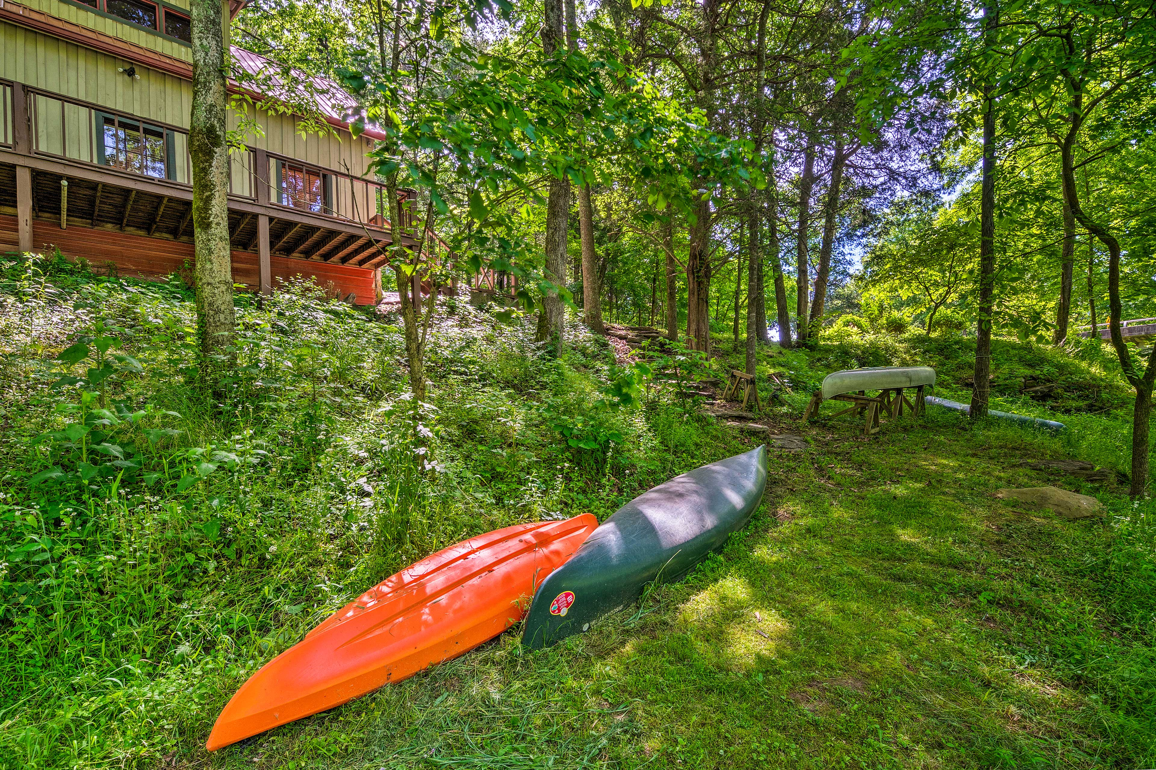 There are 2 kayaks and 2 canoes provided so you can explore the property creek.