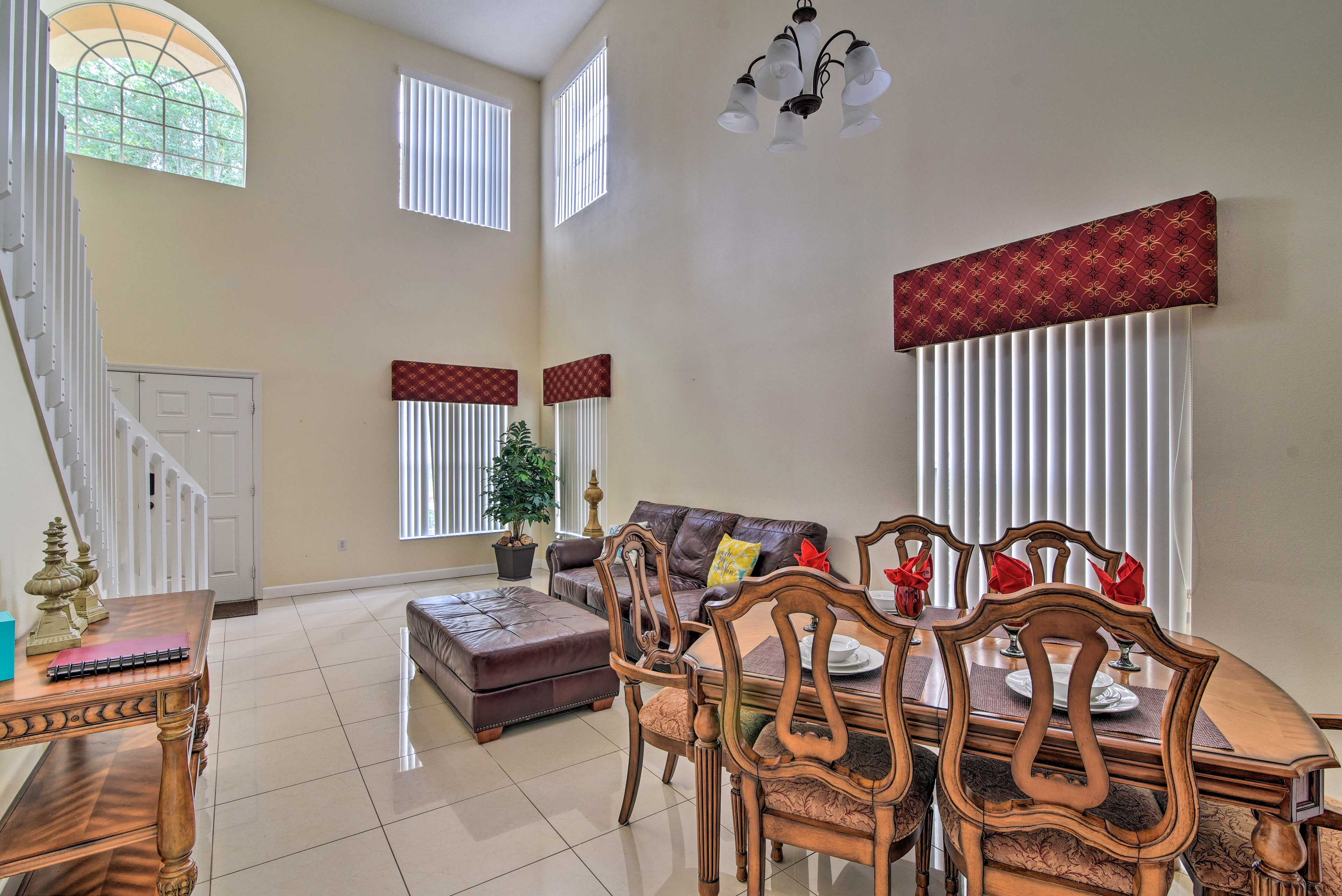 High ceilings give the house a spacious and airy feel.