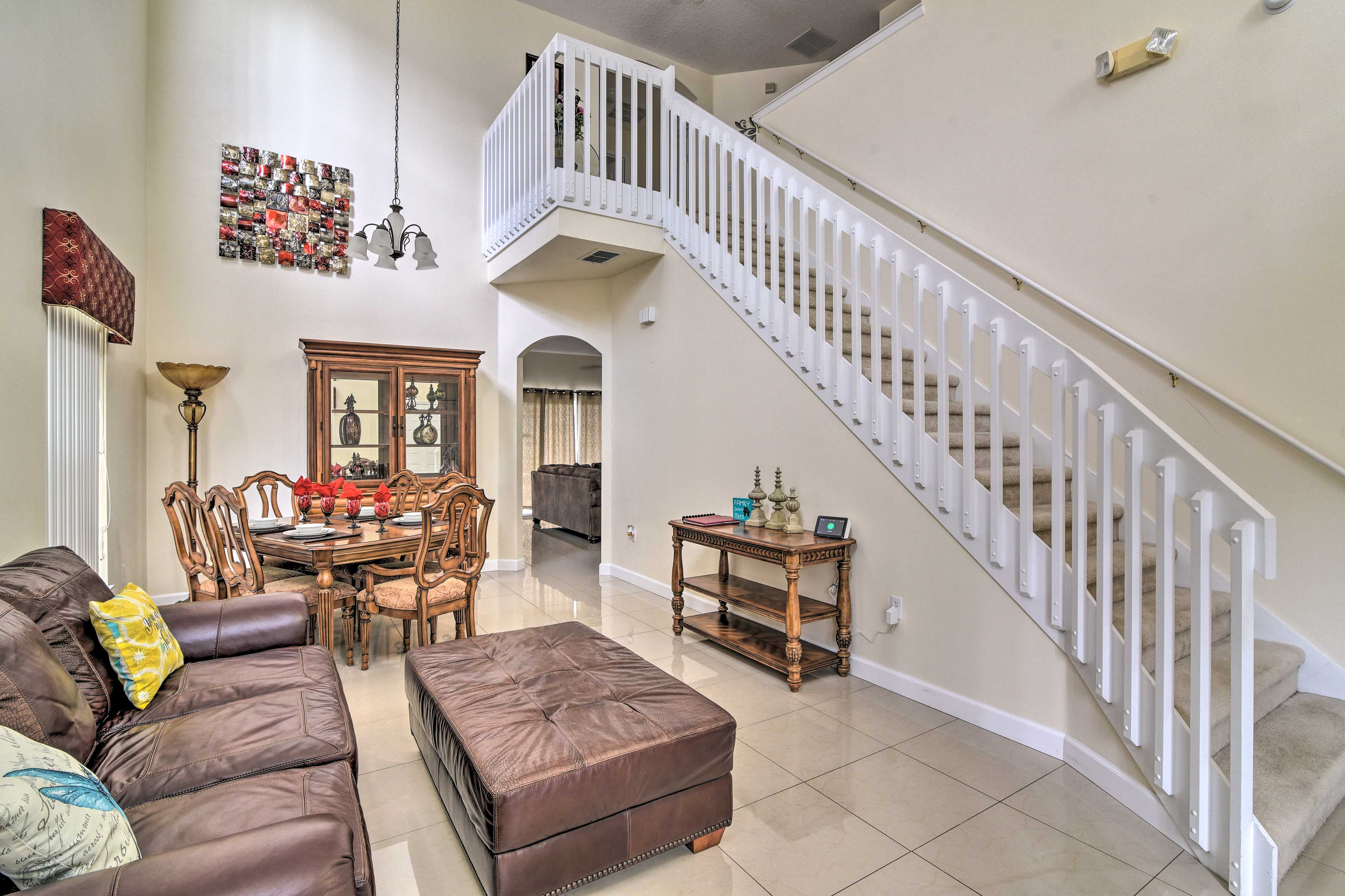The spacious interior is beautifully appointed with elegant decor.