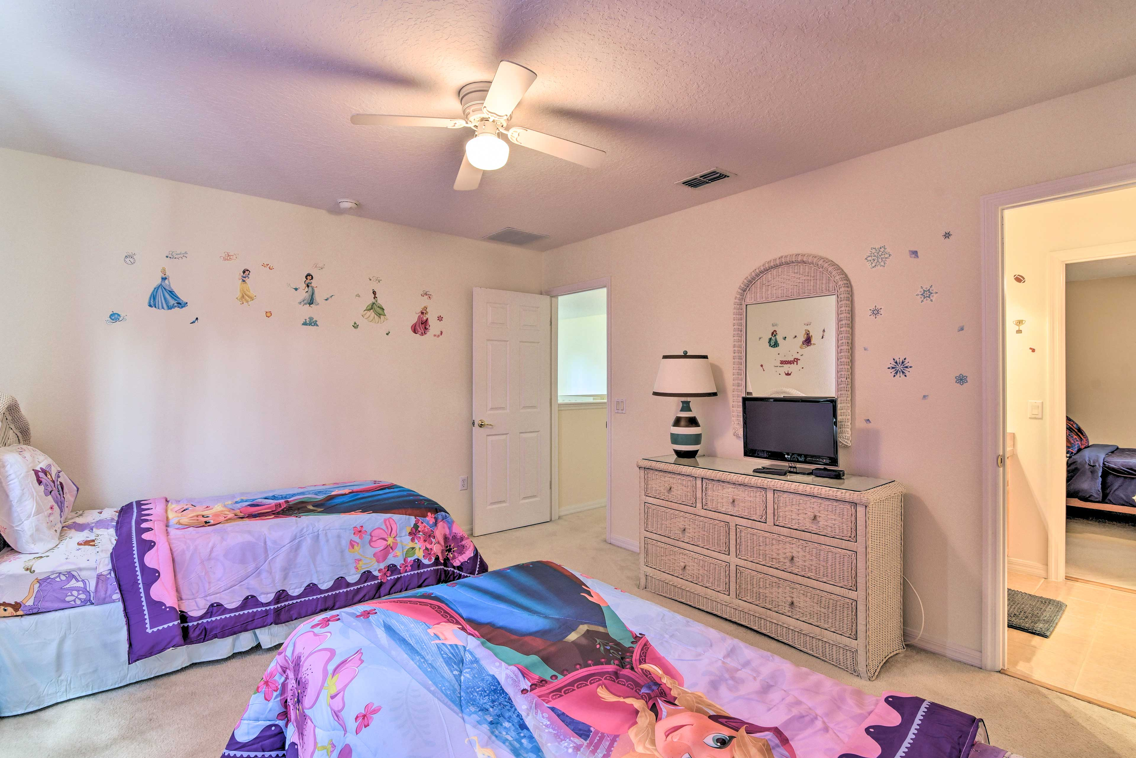 All of the bedrooms boast flat-screen cable TVs.