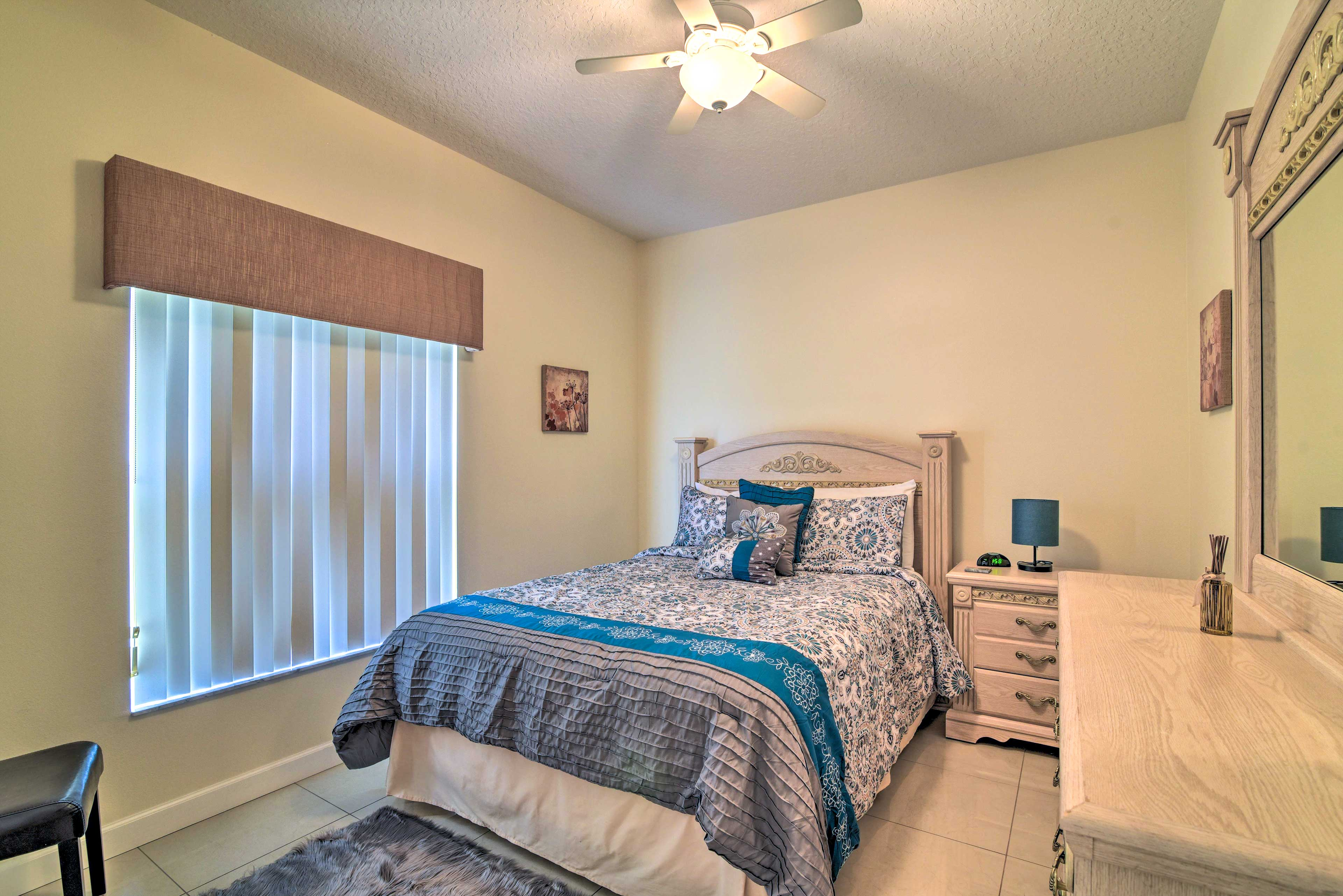 Two guests can claim this queen bed as their own.