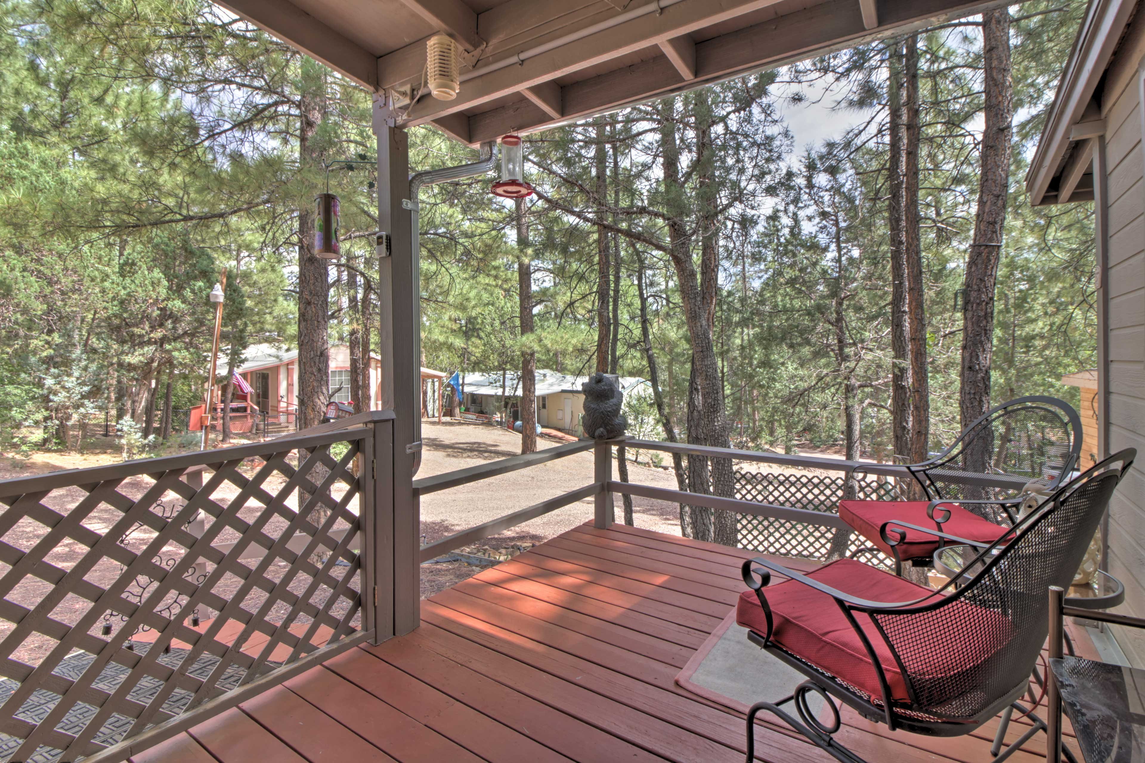 The porch will quickly become one of your favorite places to relax.