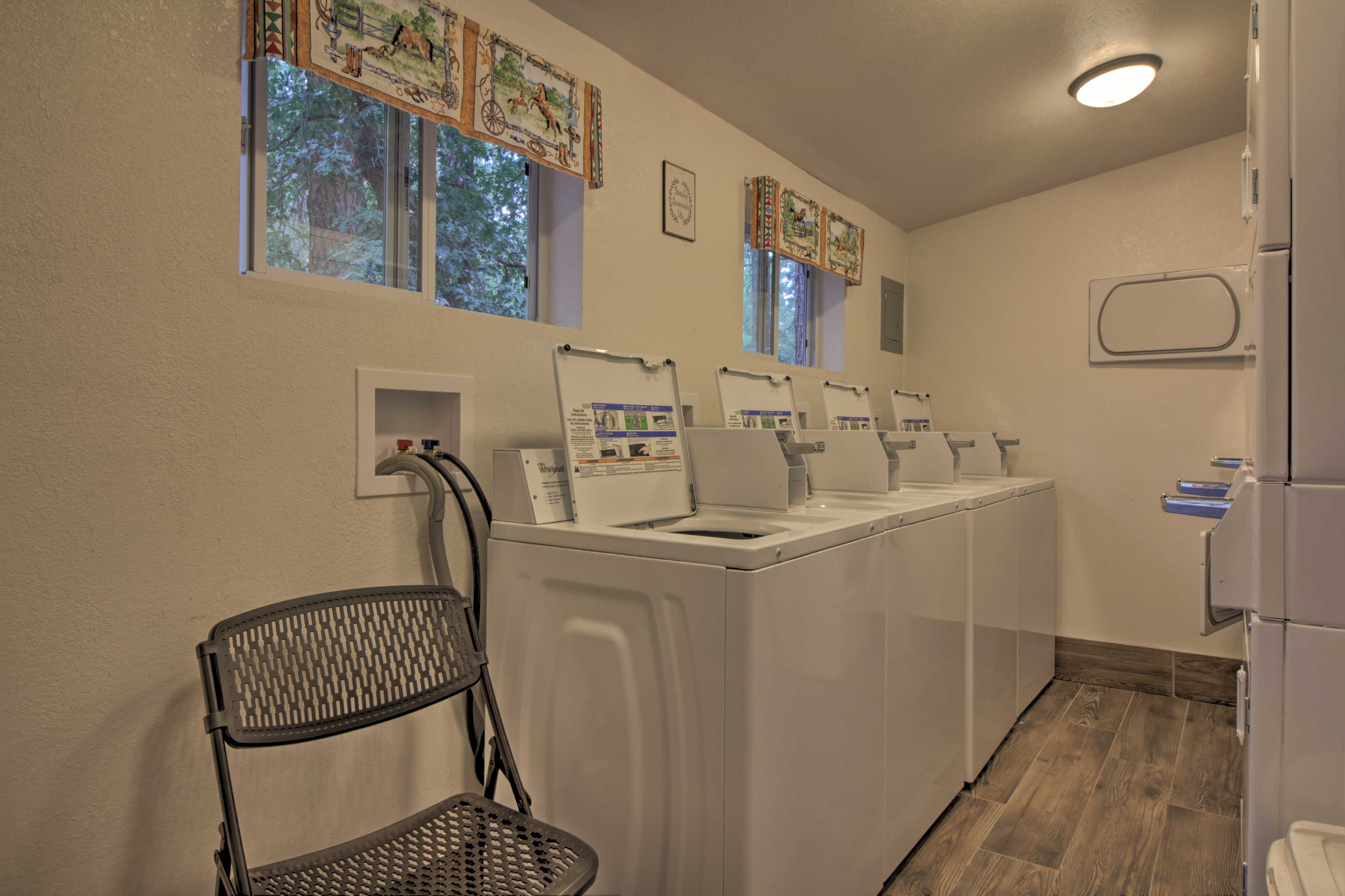 There are numerous coin-operated laundry machines available.