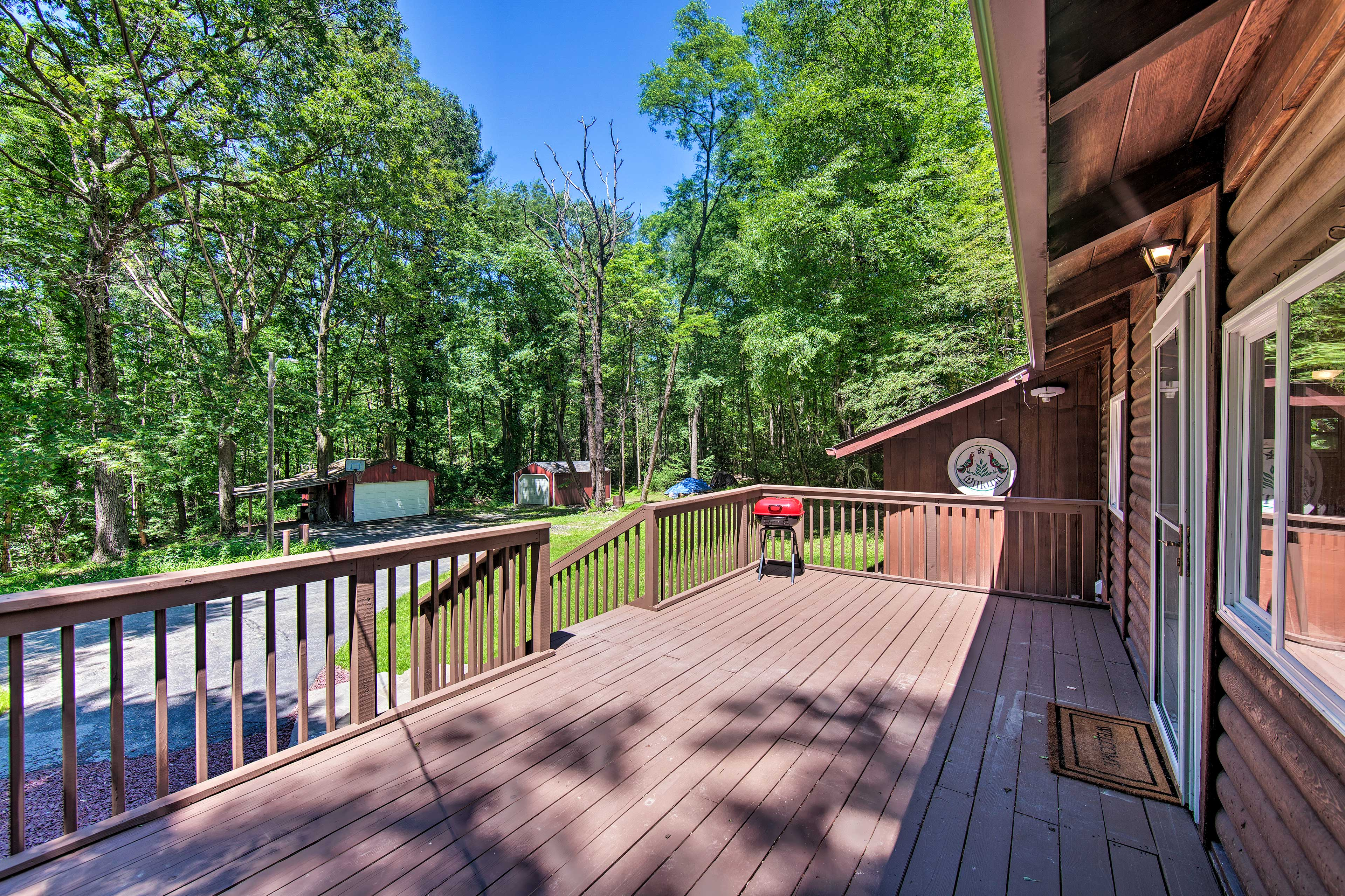 The large deck is the perfect place to sunbathe and watch for wildlife.