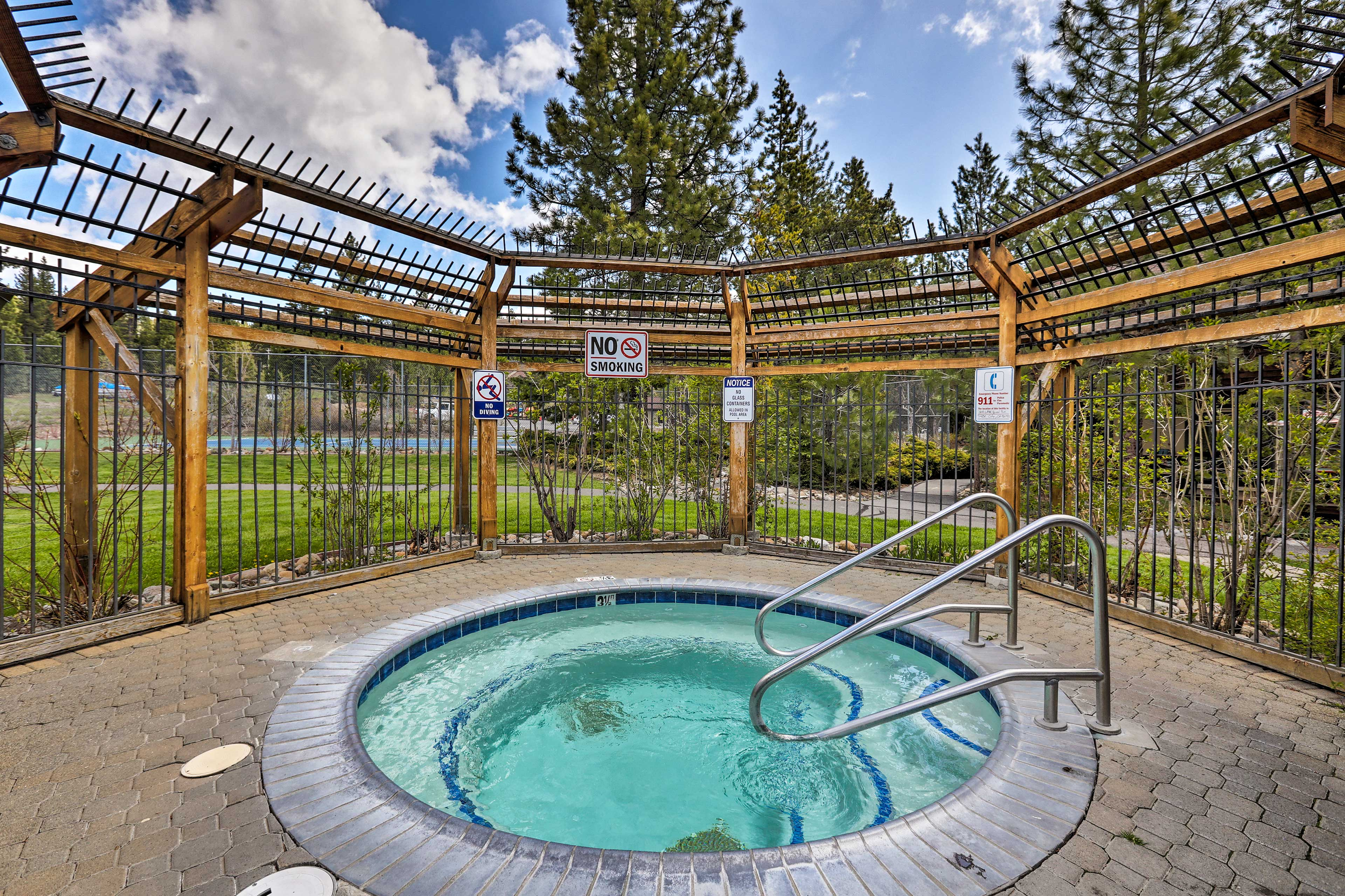 Soak your sore muscles in the hot tub.