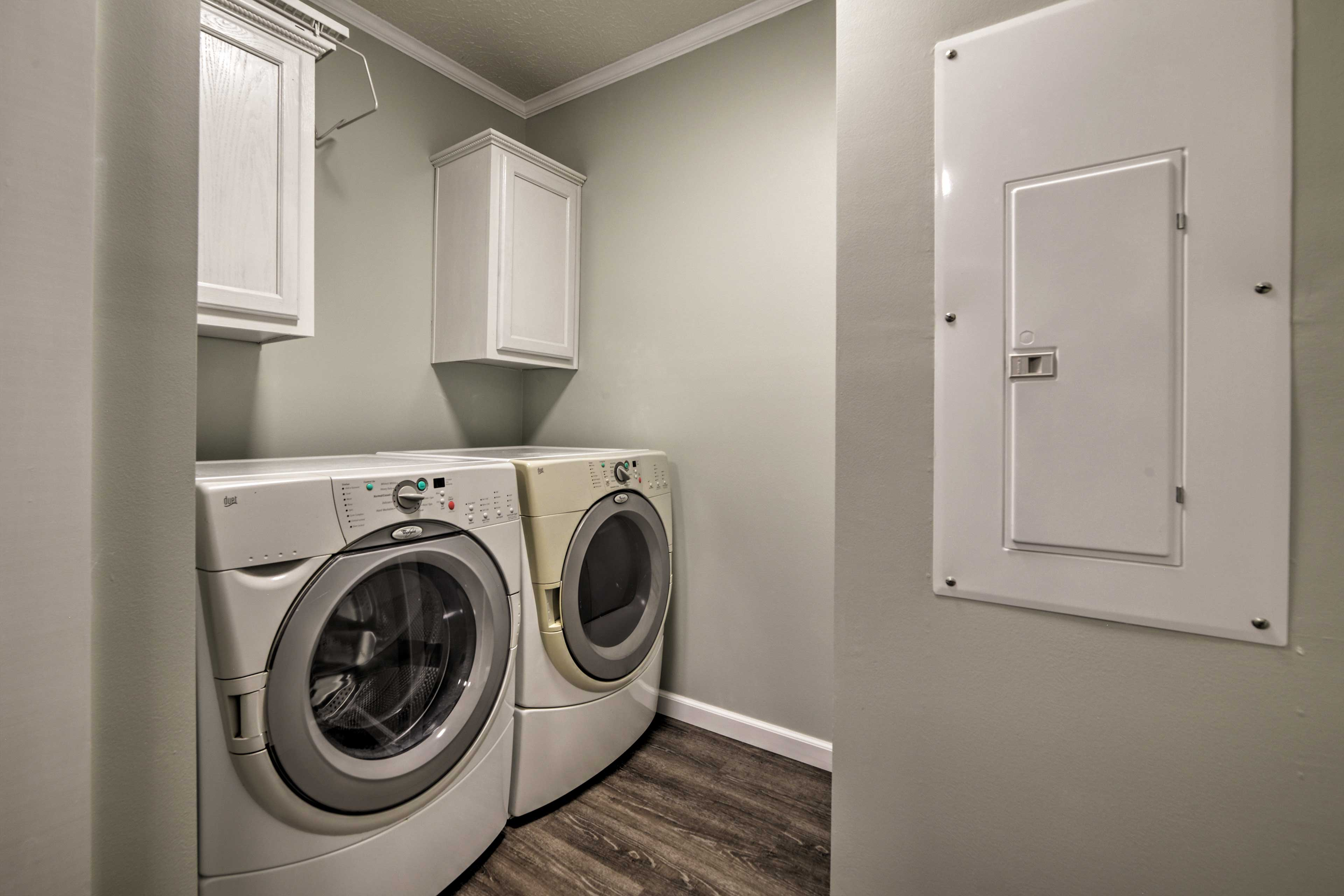 Keep clothes fresh with the laundry machines.