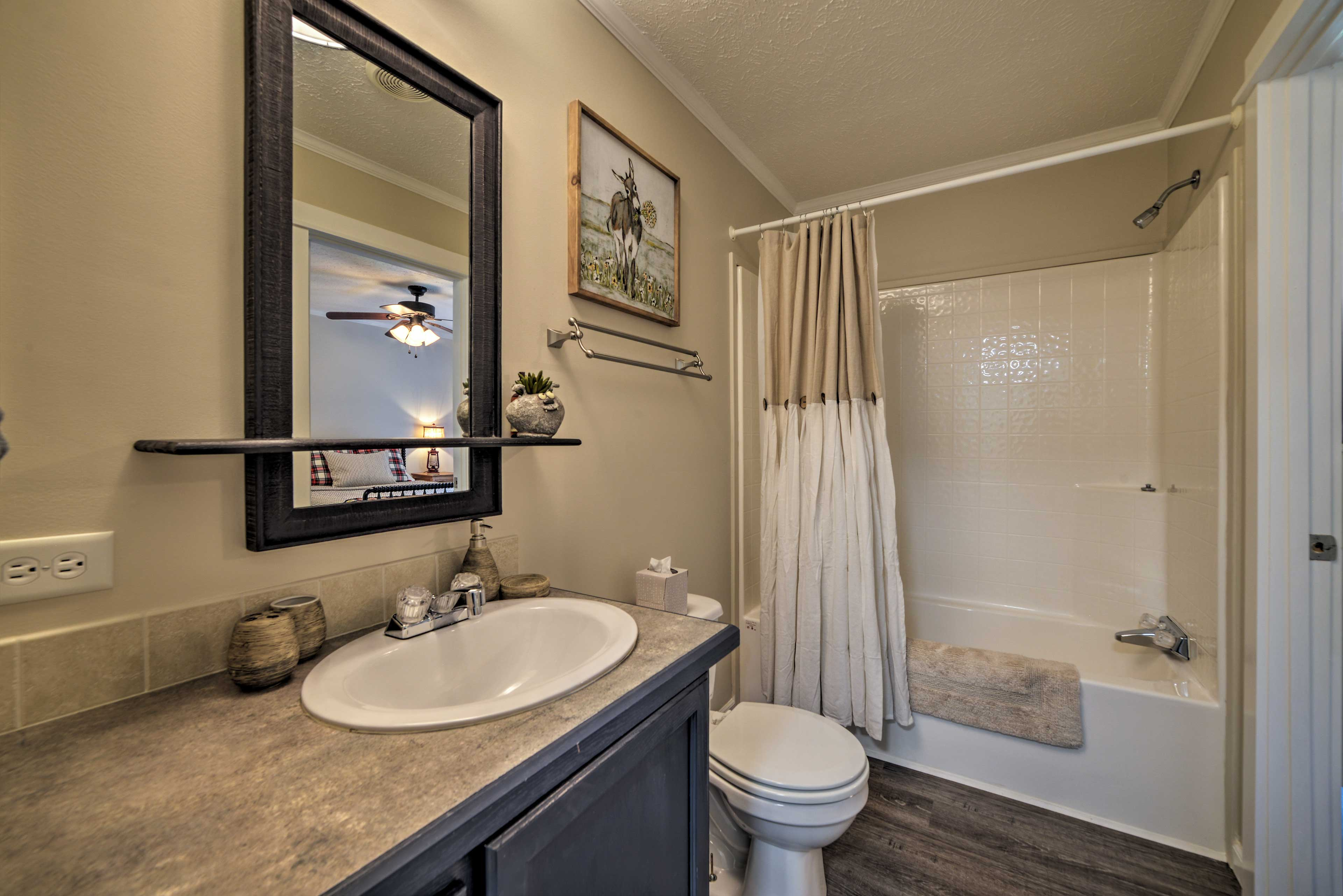 Prep for the day with the shower/tub combo.