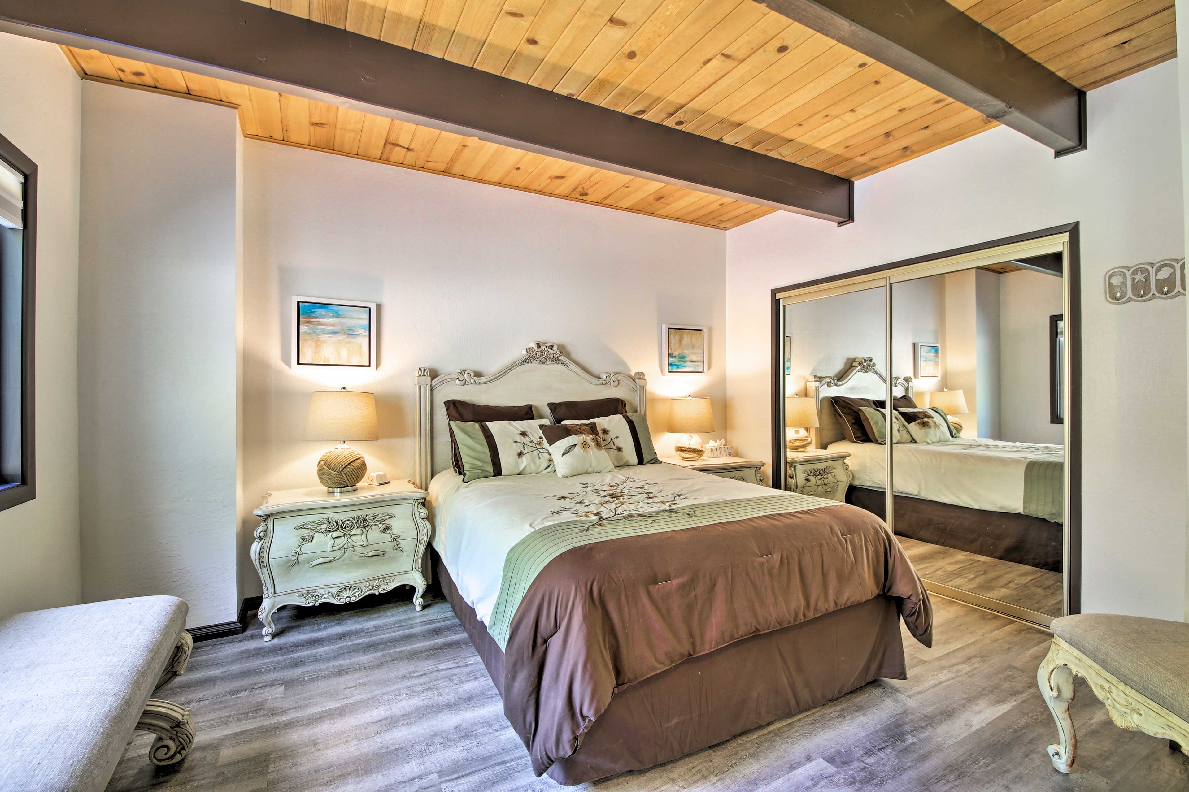 Couples will love sharing this queen bed.
