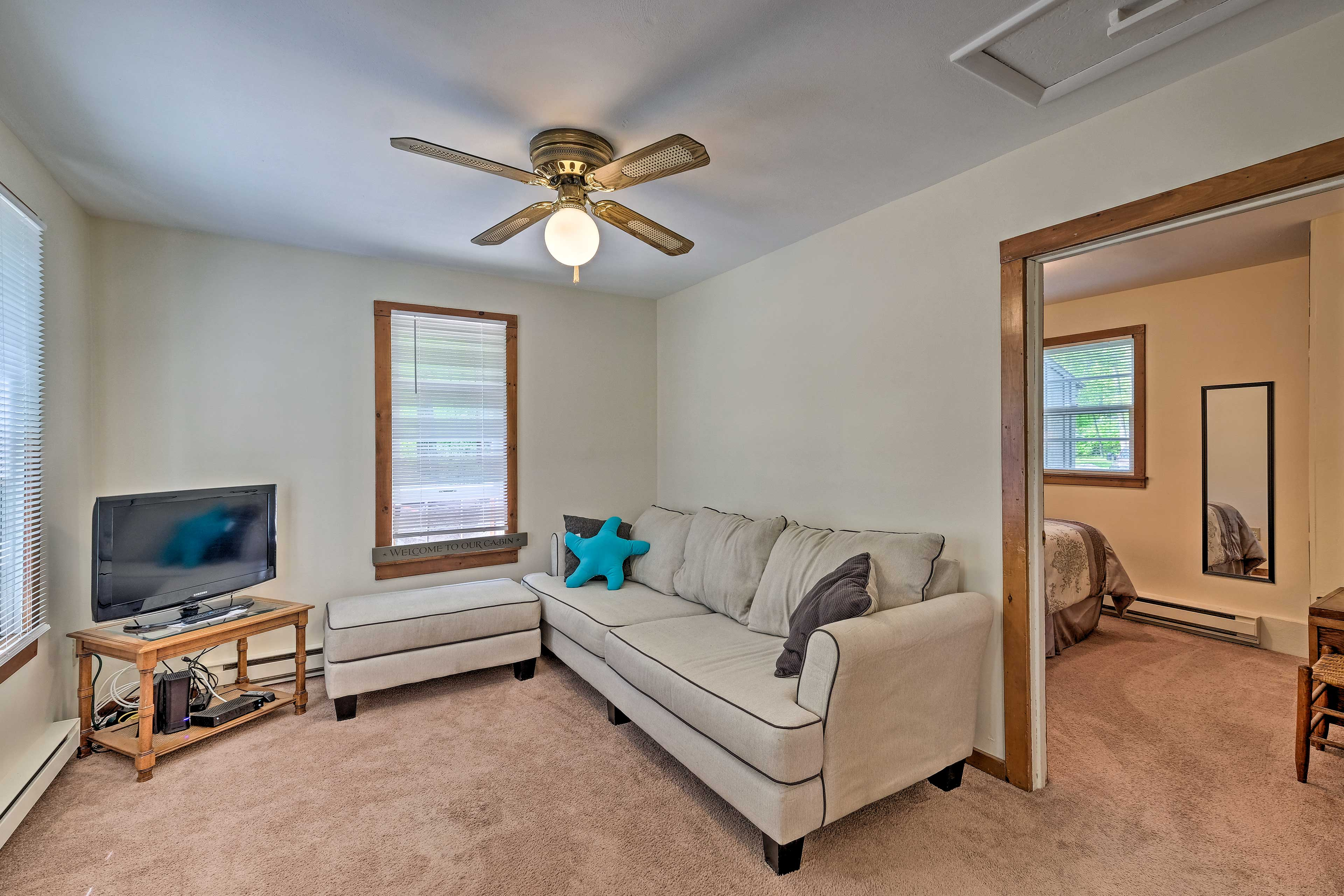 The ceiling fan will keep you cool on a hot summer day.
