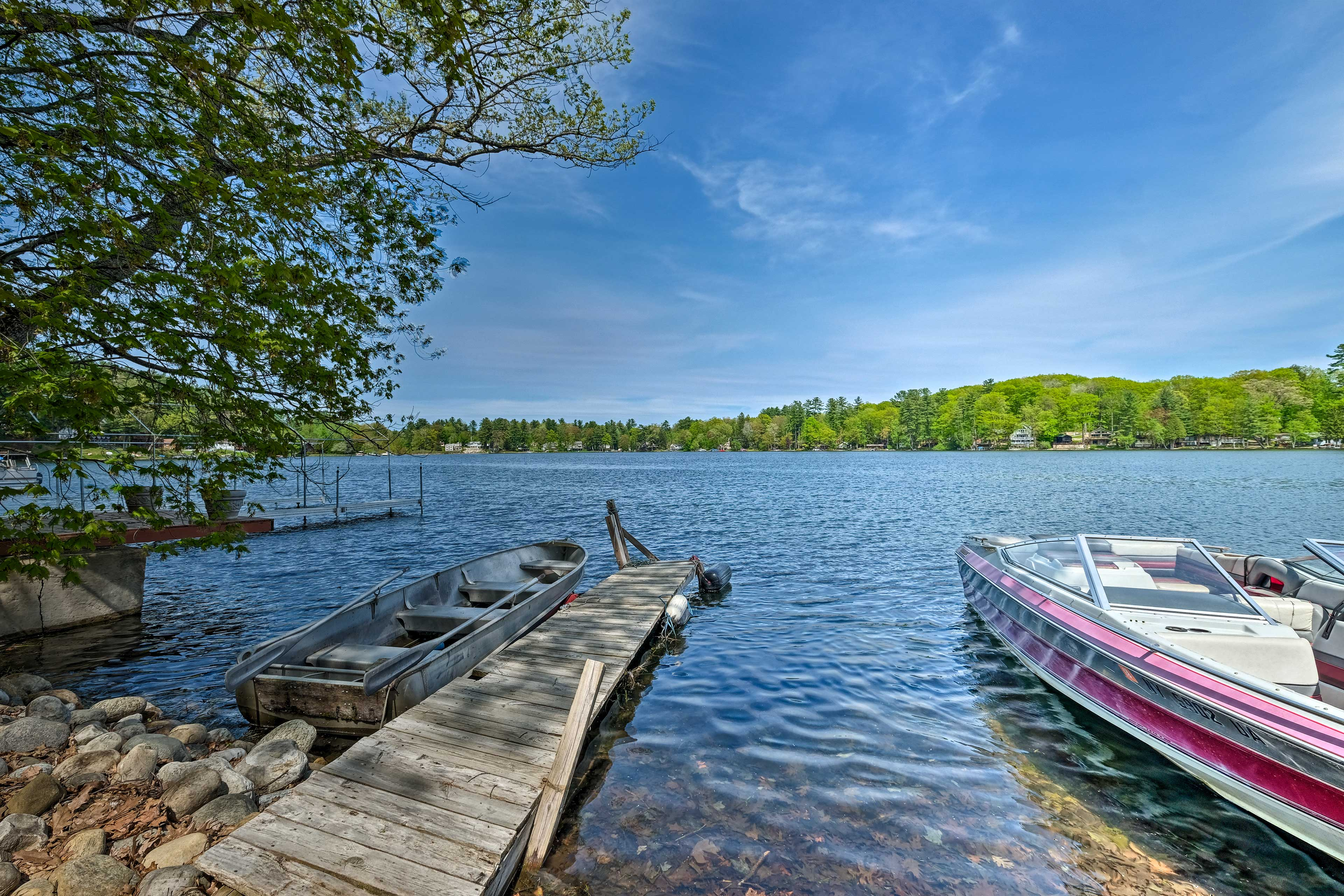 The cottage's private dock is just a short walk away.