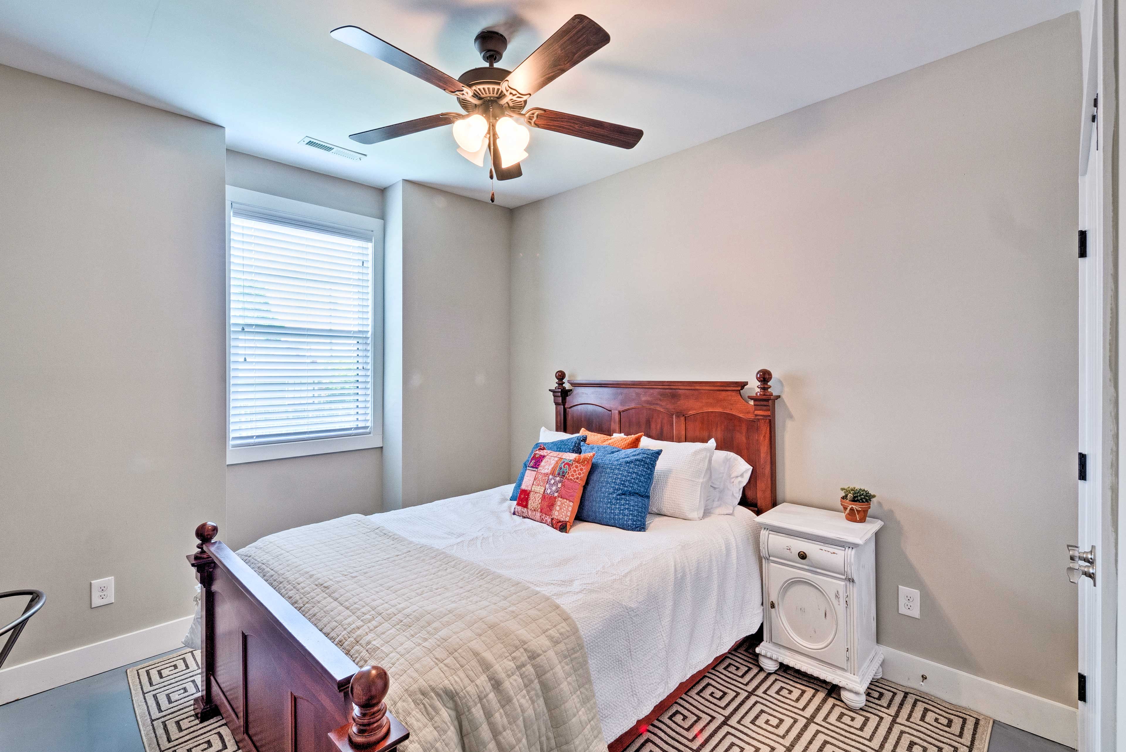 The third bedroom offers a full-sized bed.