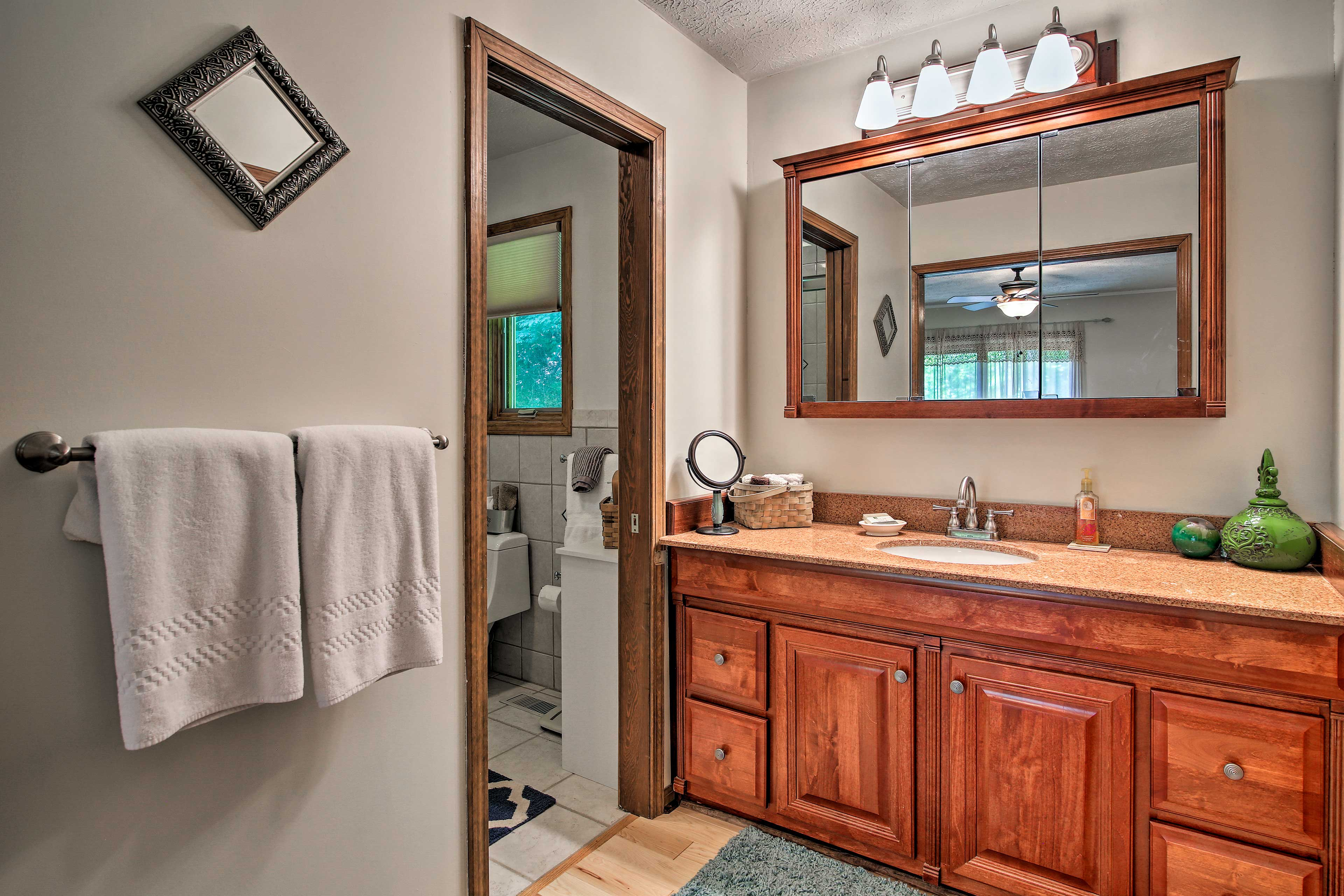 Store all your toiletries on the spacious vanity.