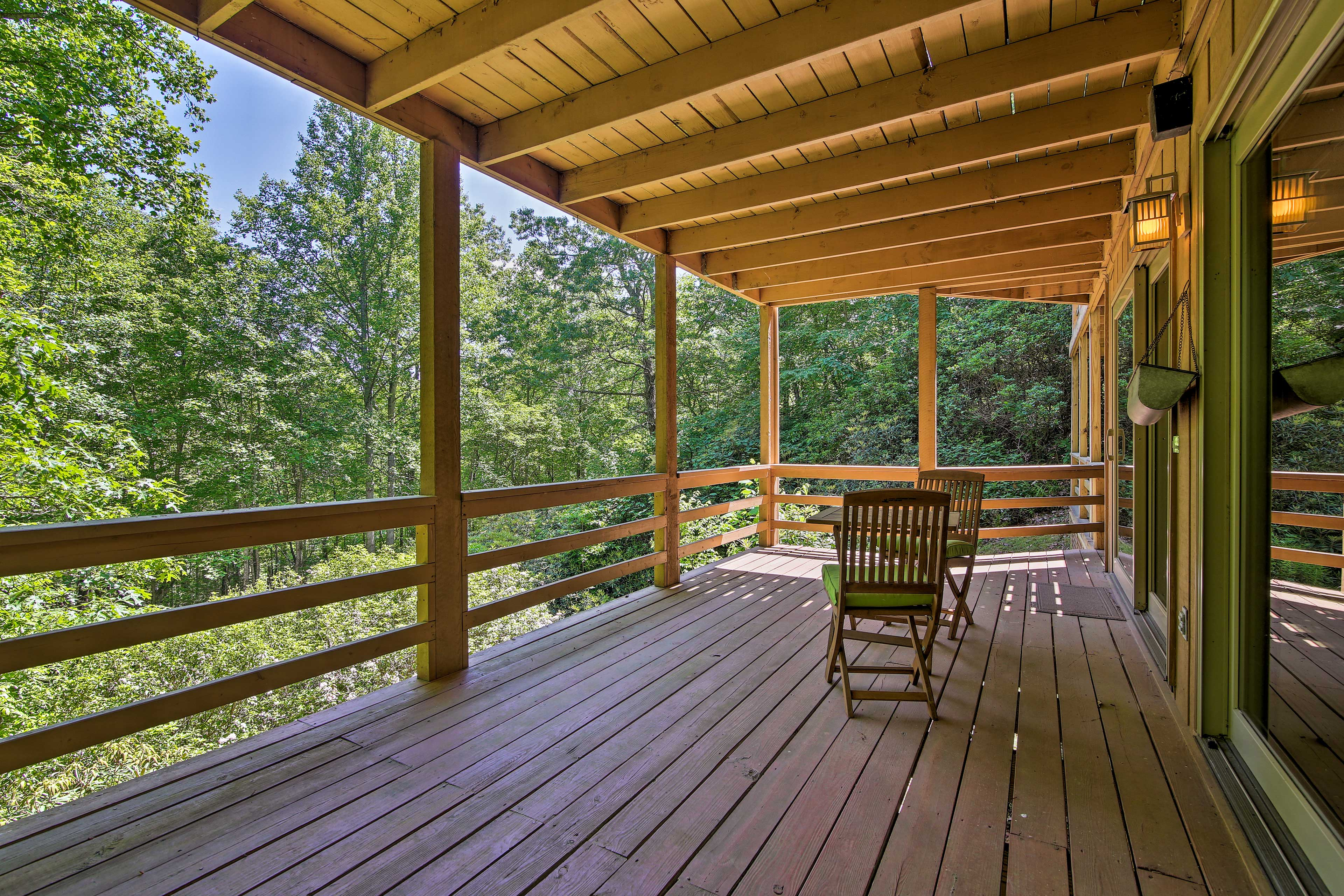 There's multiple levels of deck space for you to enjoy.