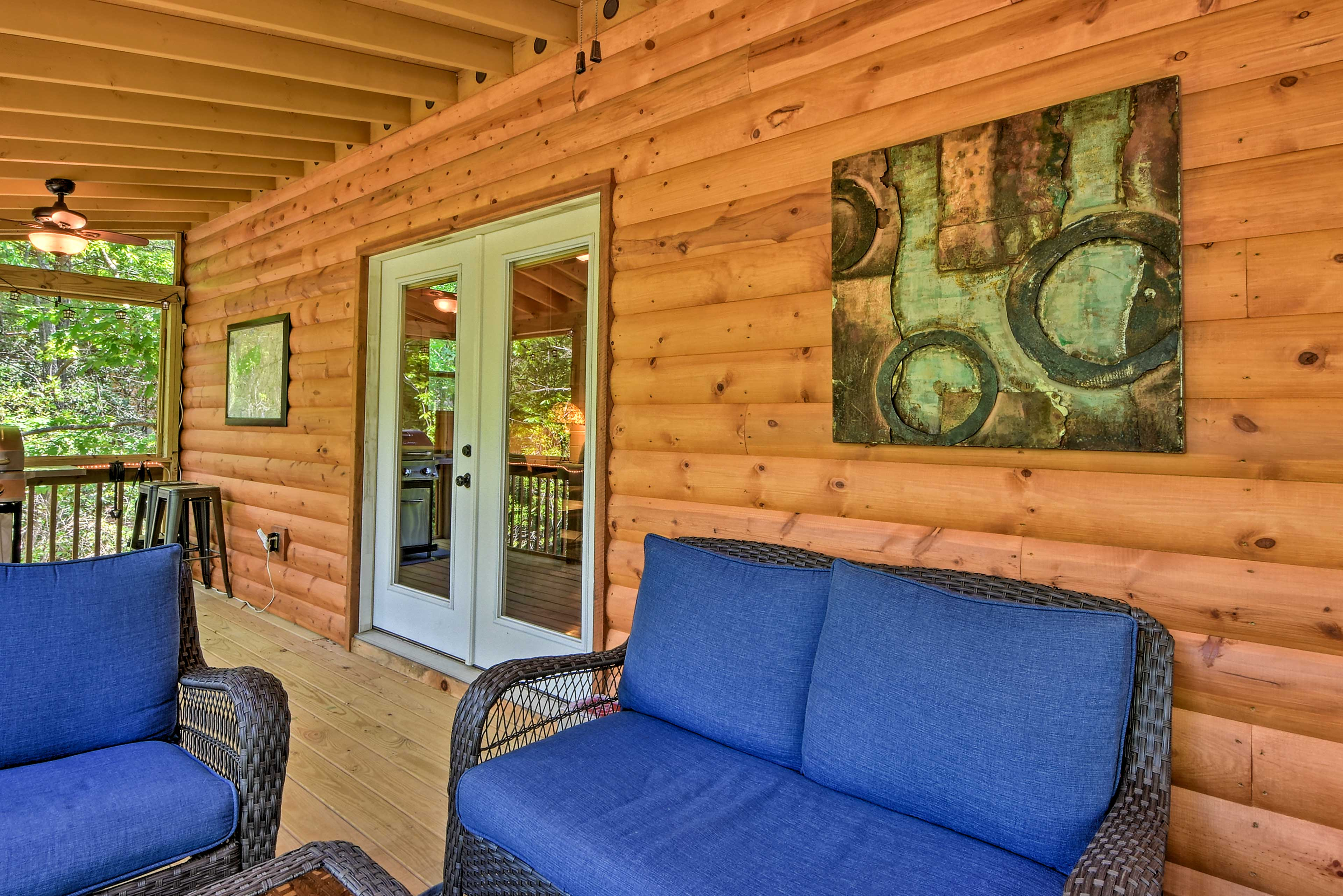 Enjoy pest-free evenings on the screened porch.