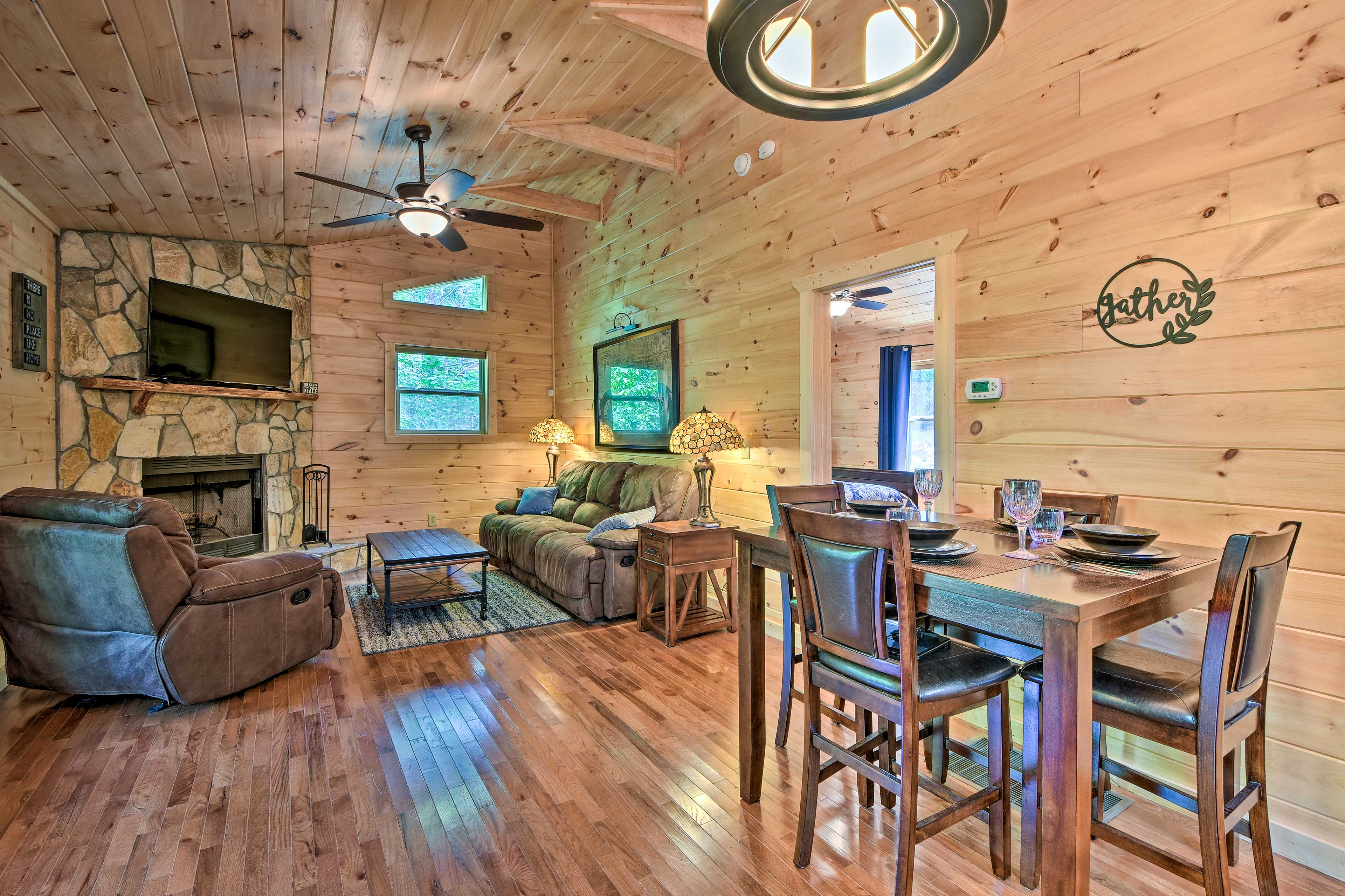 Newly built, the cabin is outfitted with brand new furnishings and fixtures.