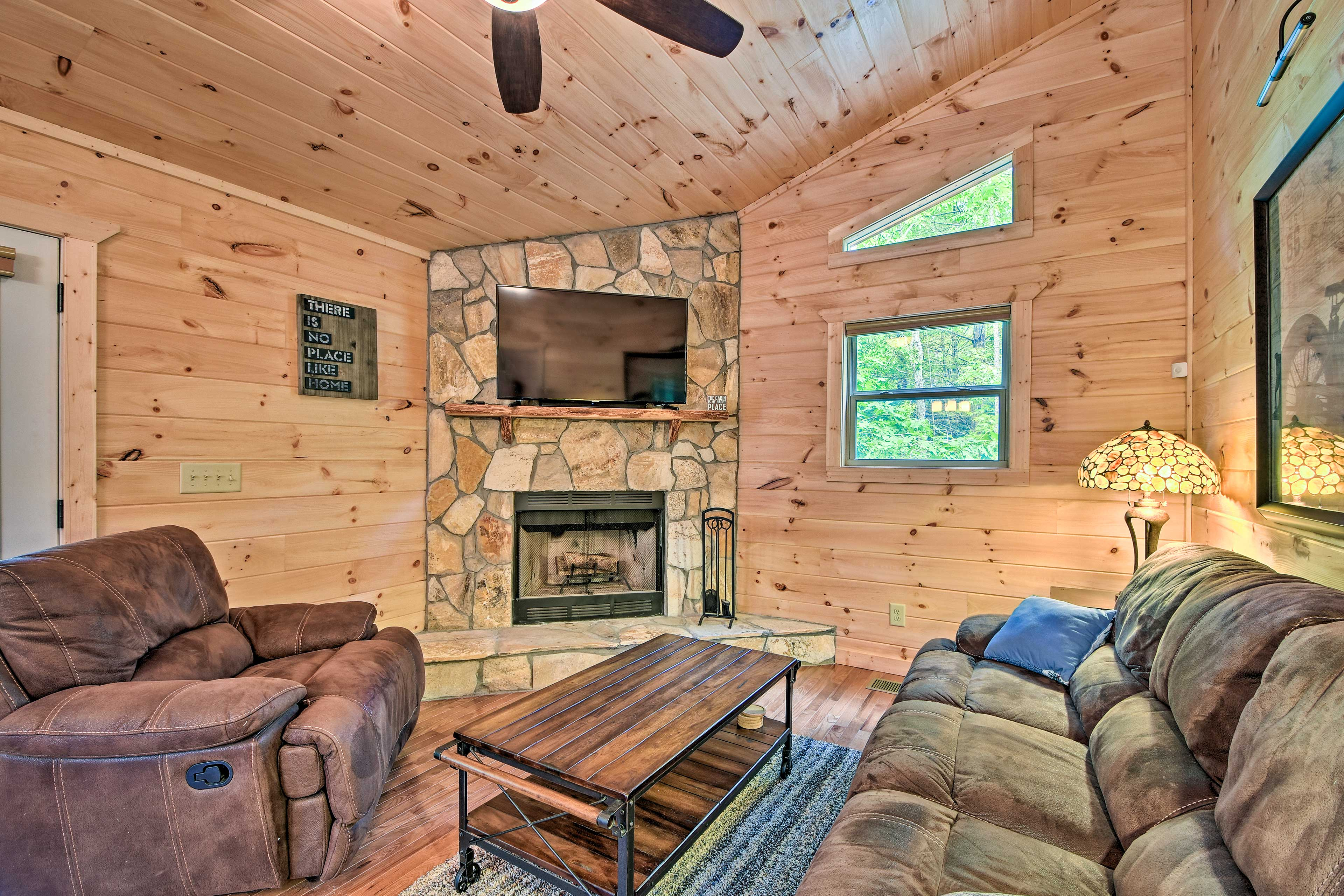 Enjoy a cozy at-home evening in front of the fireplace and Smart TV.