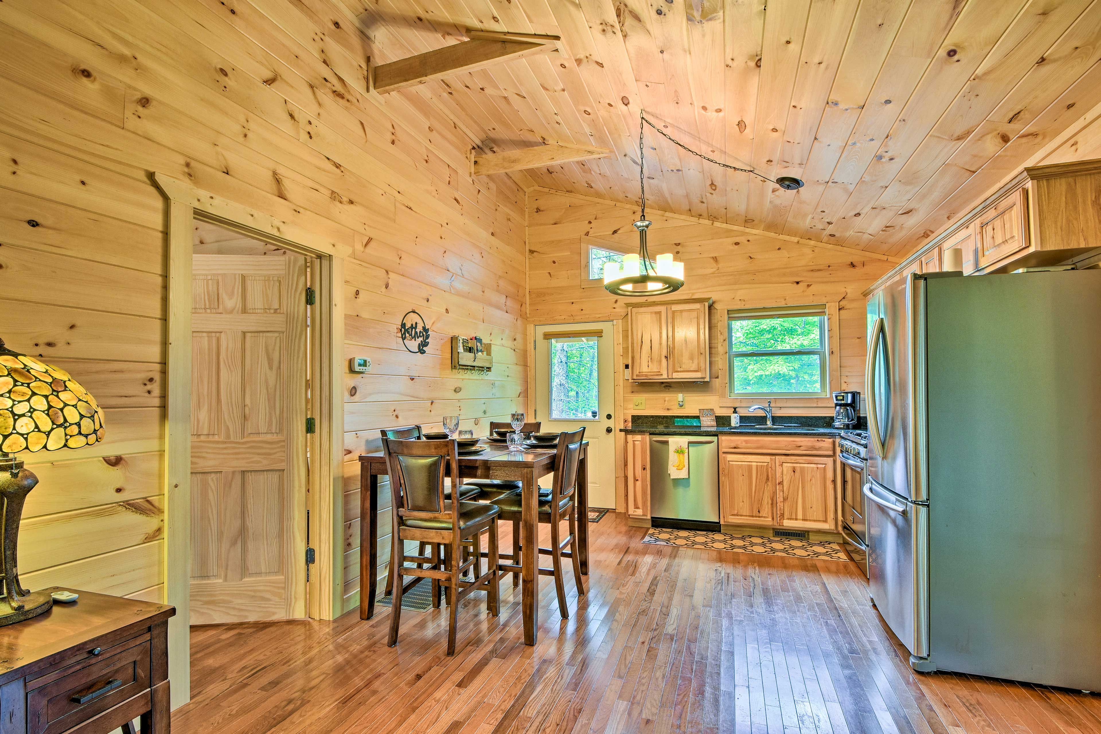Adjacent to the living area is a fully equipped kitchen.