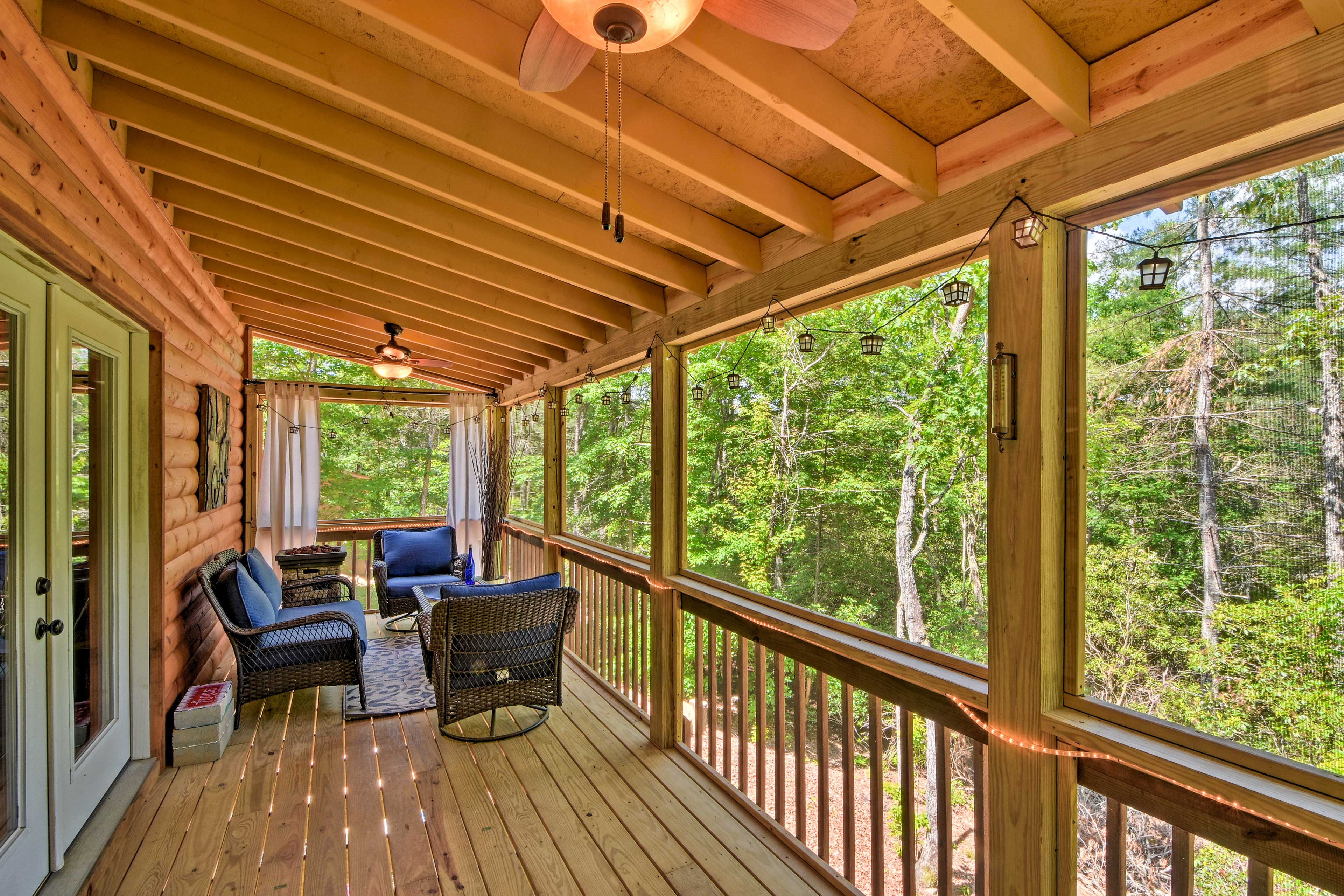 Look out over tranquil tree-lined scenery from your private perch.
