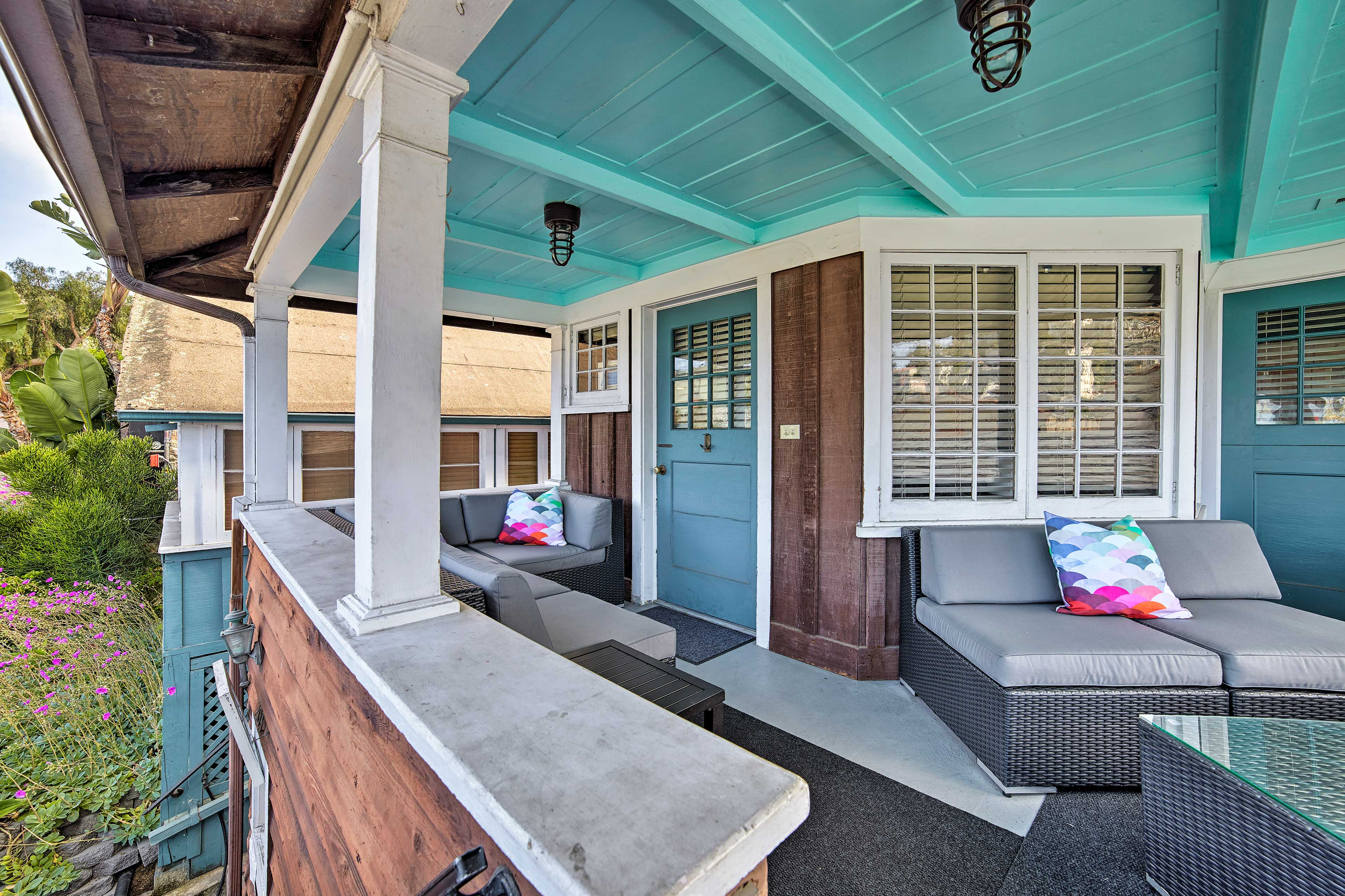 Enjoy an evening on the patio with ample seating.