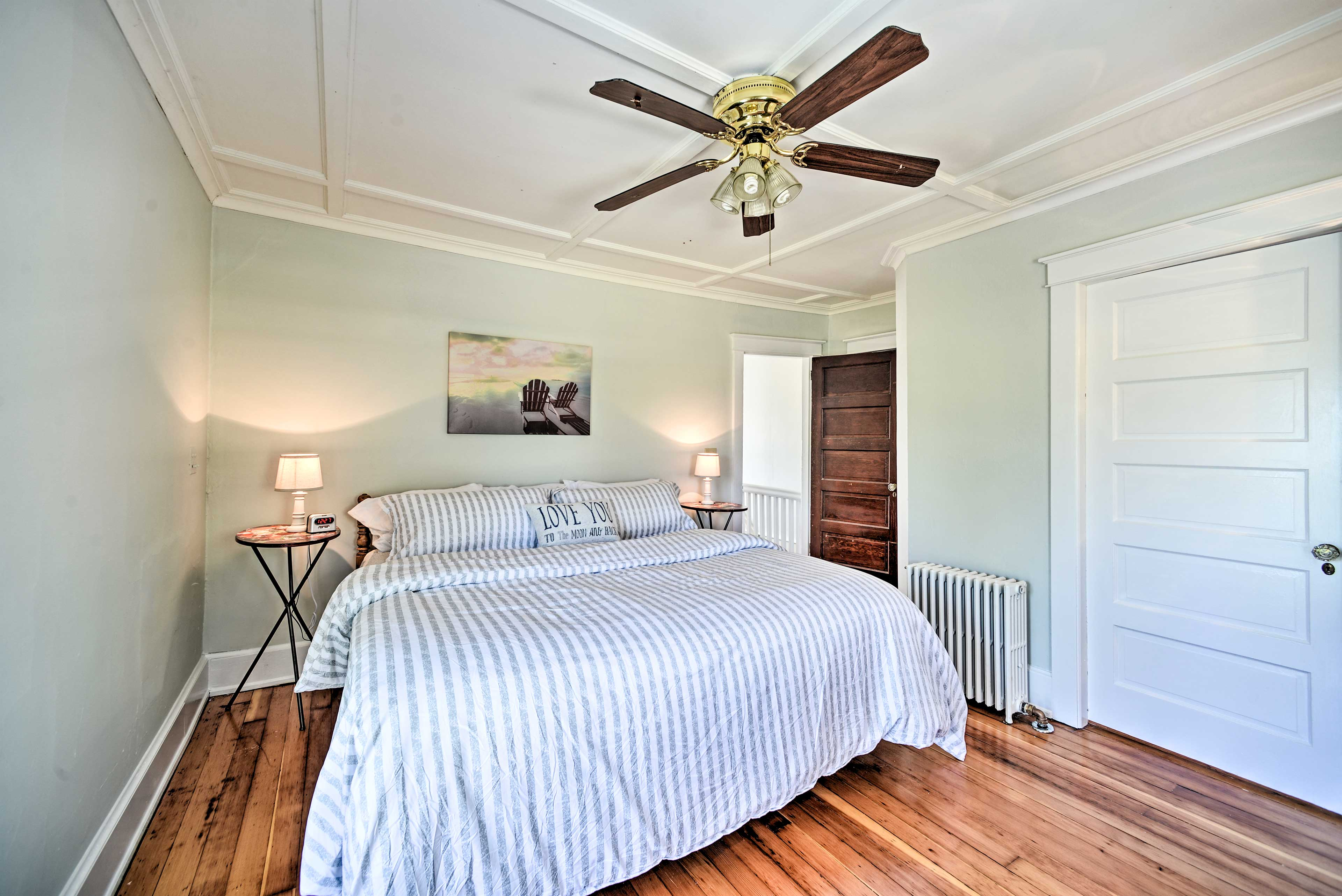 The ceiling fan will keep air flowing while you sleep.