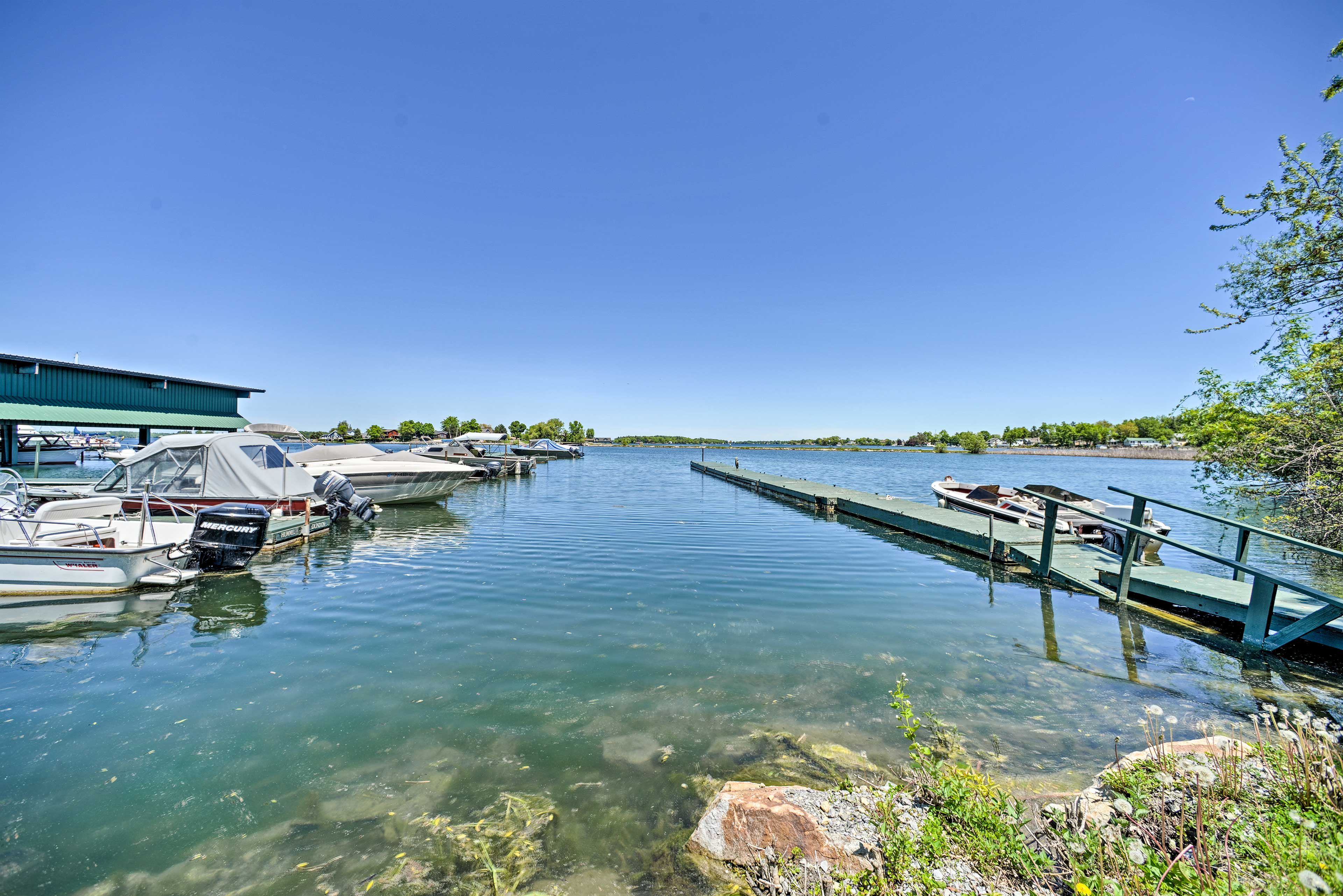 This 4-bed, 1.5-bath vacation rental is 2 blocks from the St. Lawrence River!