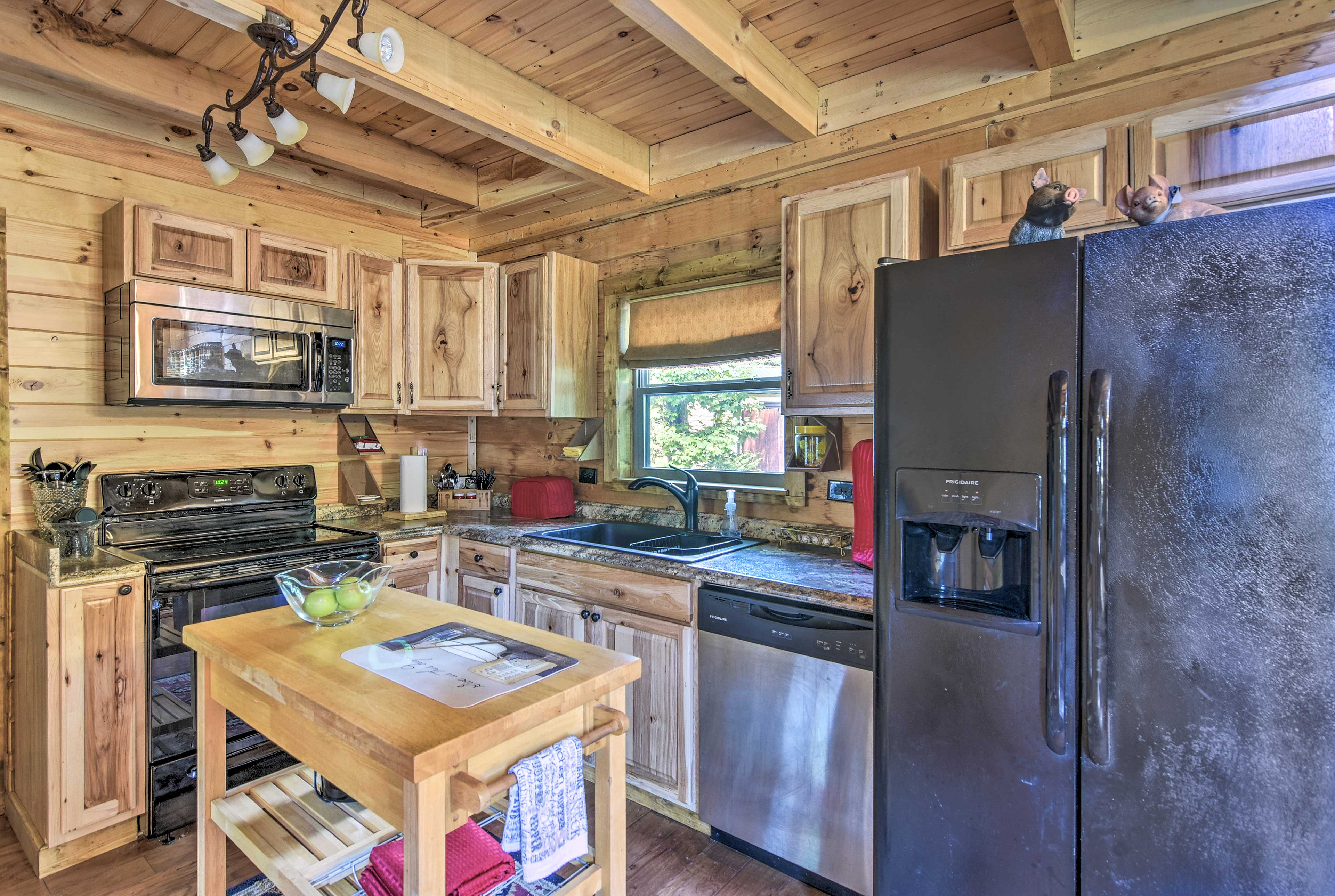 The kitchen island provides some extra space for meal prep.