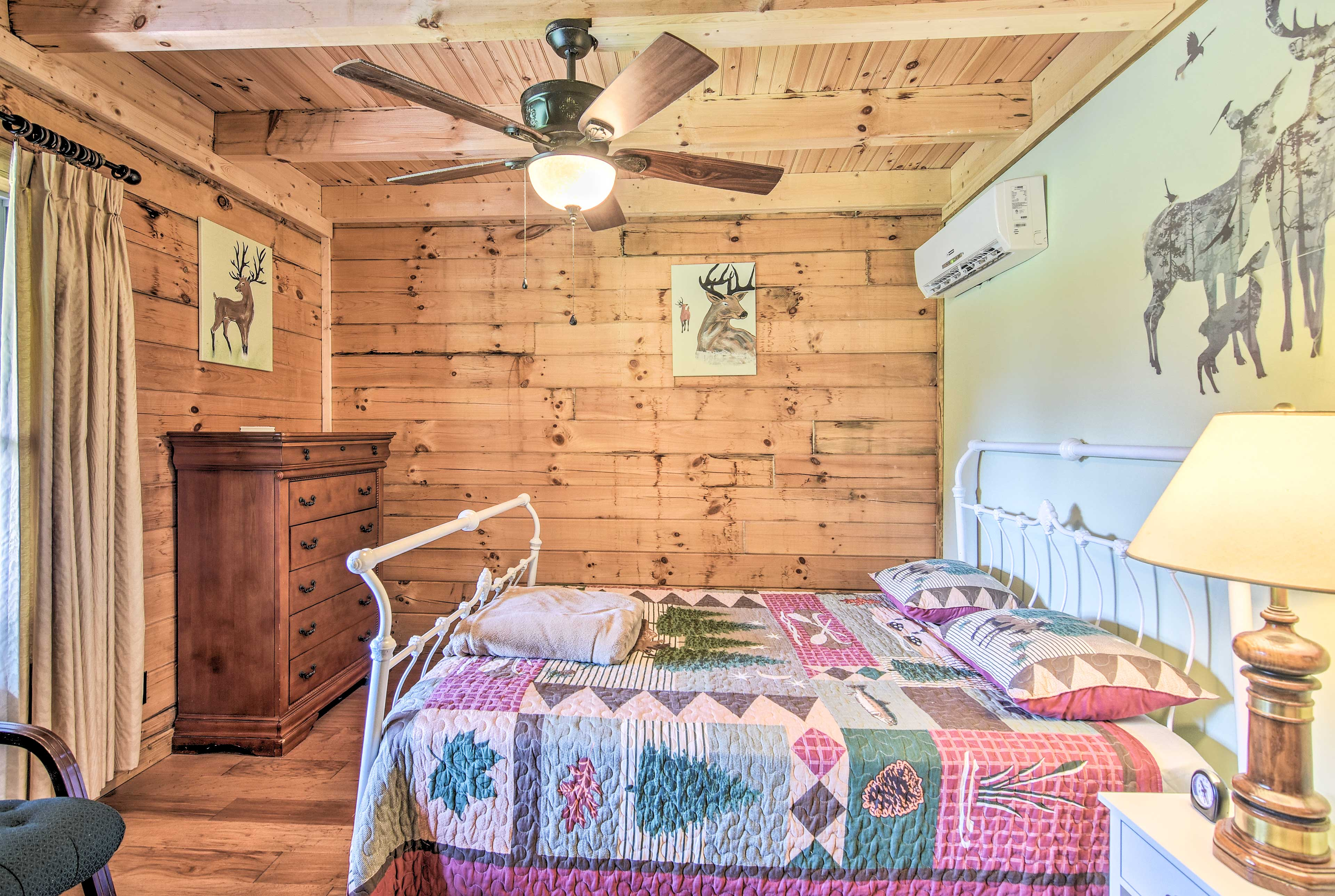 Rustic decor extends into the bedrooms.