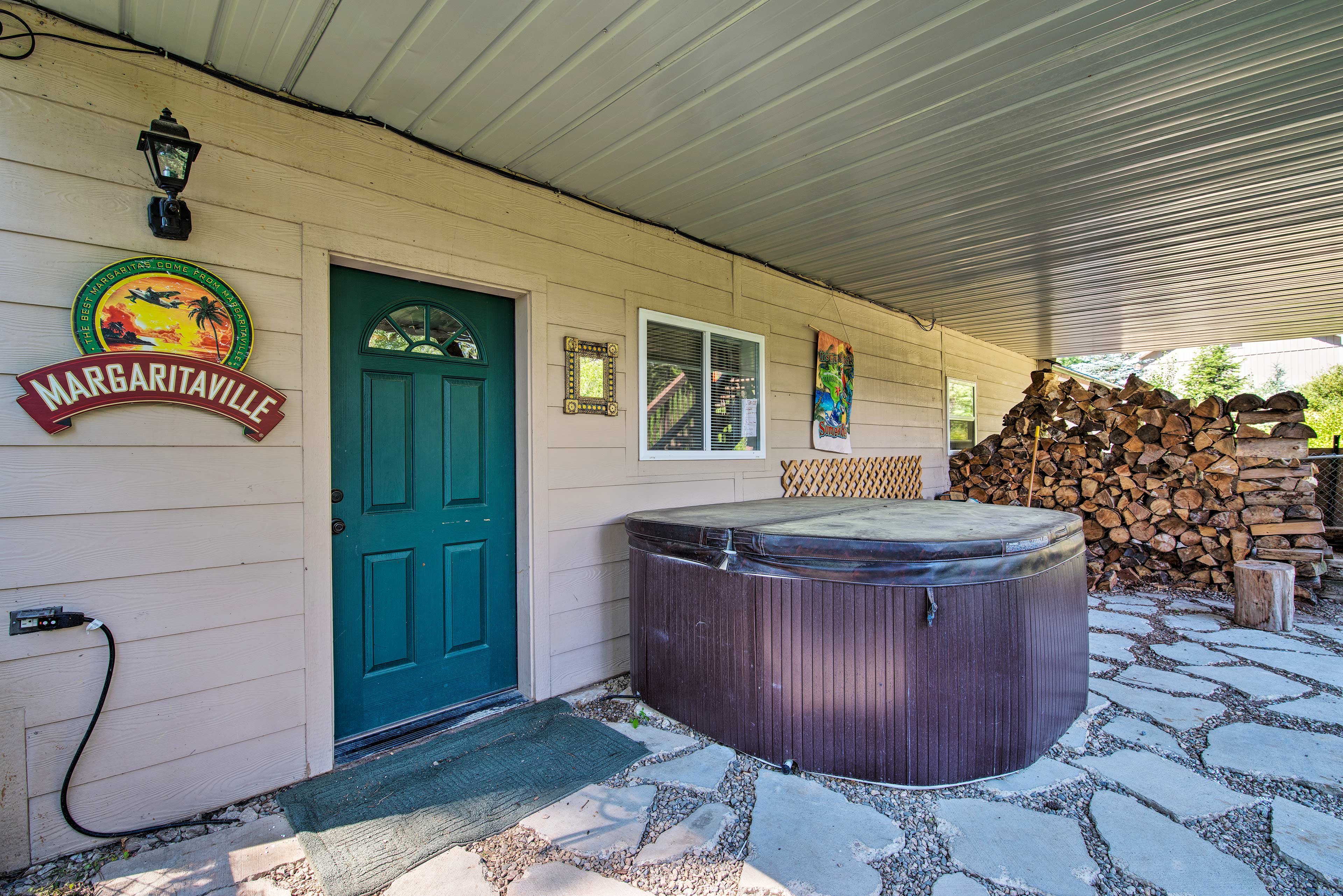 Slide into the hot tub after a long day of hiking the property.