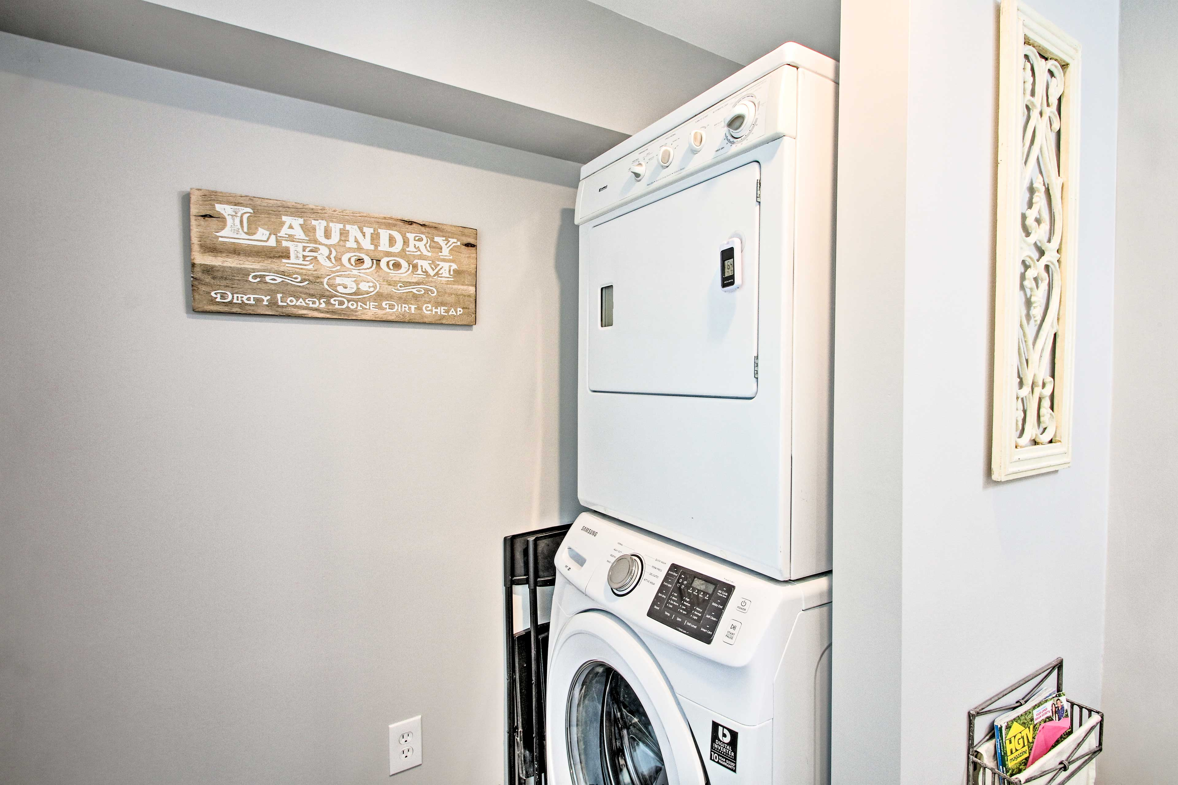 No need to over-pack with the in-unit laundry machines.