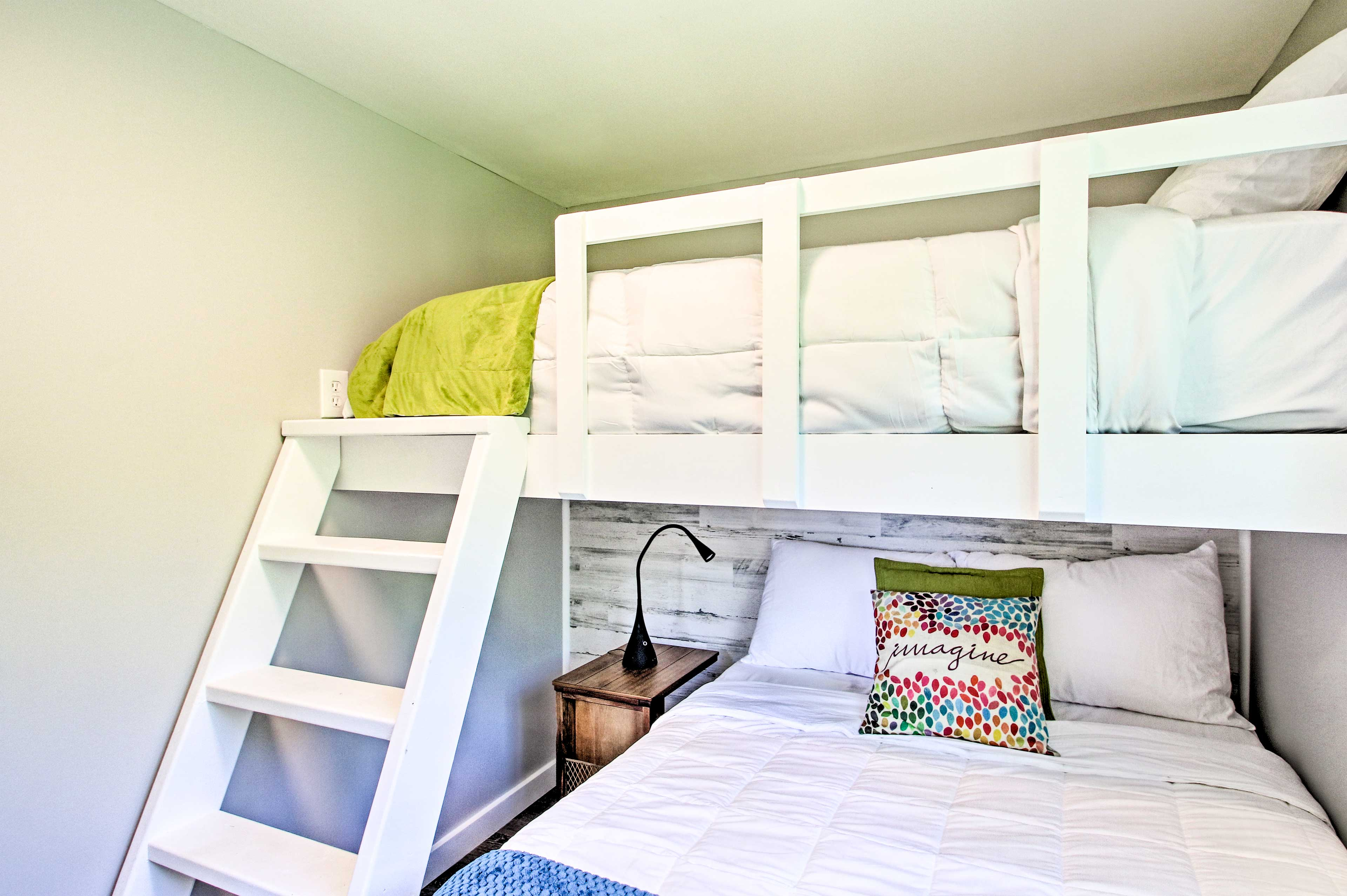 Up to 3 guests can snooze in the twin-over-full bunk bed.