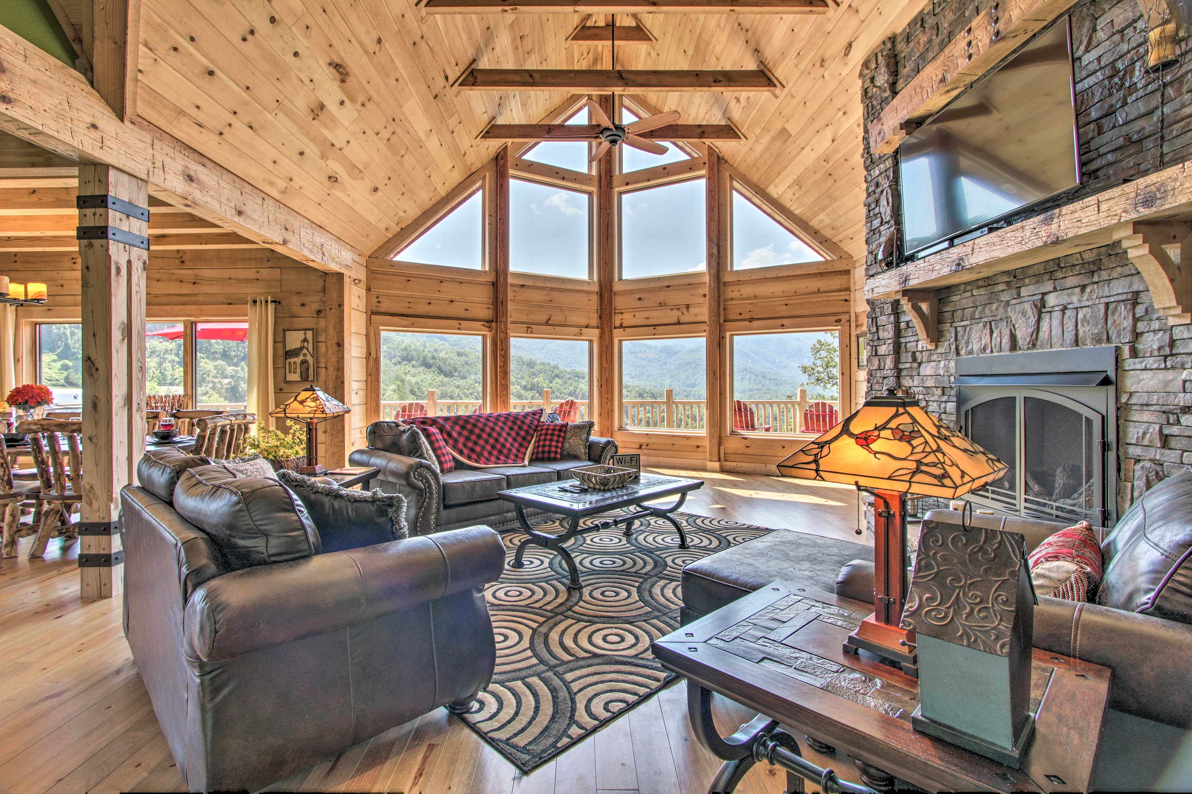 Living Room   Exposed Wood Beams   Smart TV   Gas Fireplace