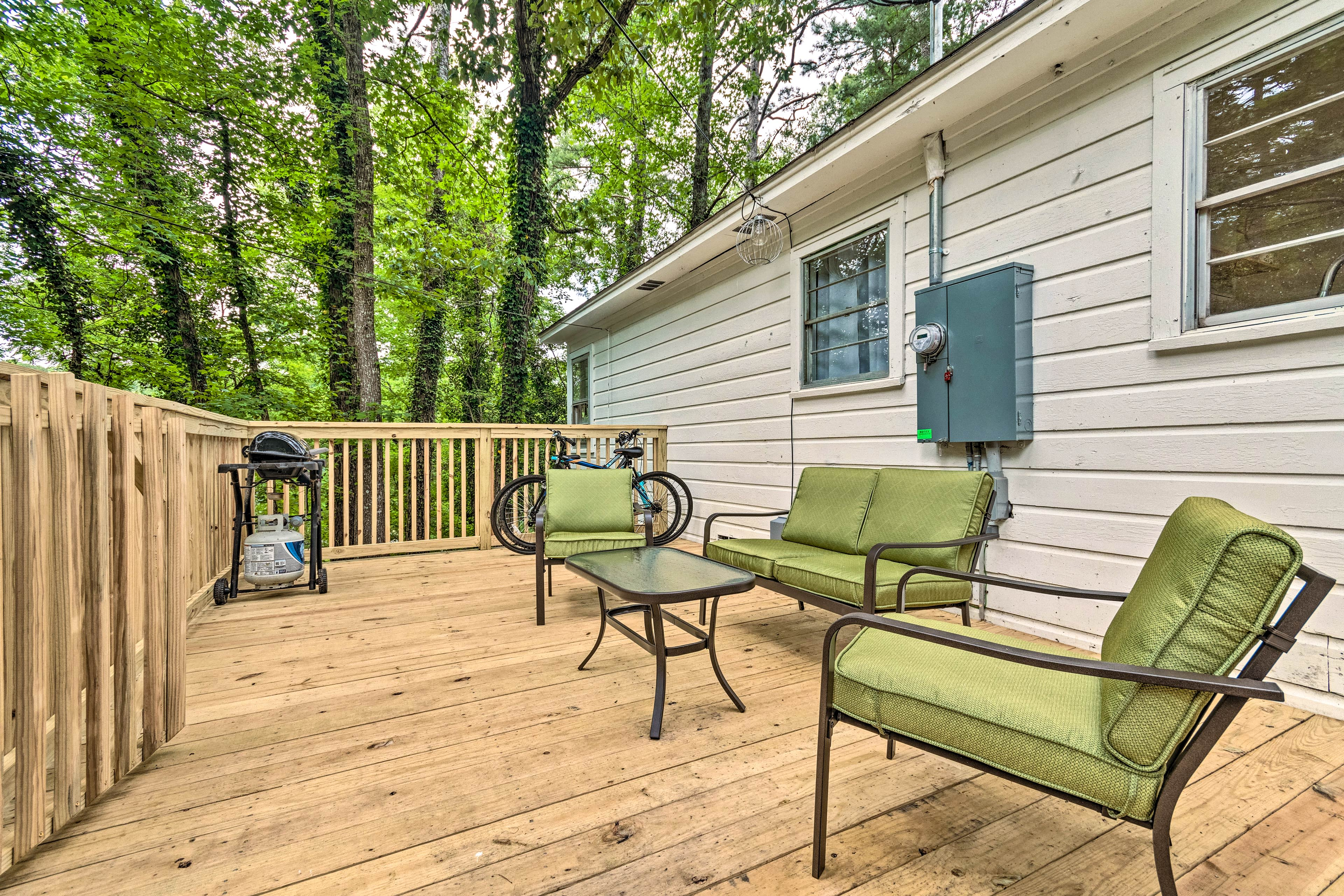 Enjoy a private cookout on the patio, complete with forest views!