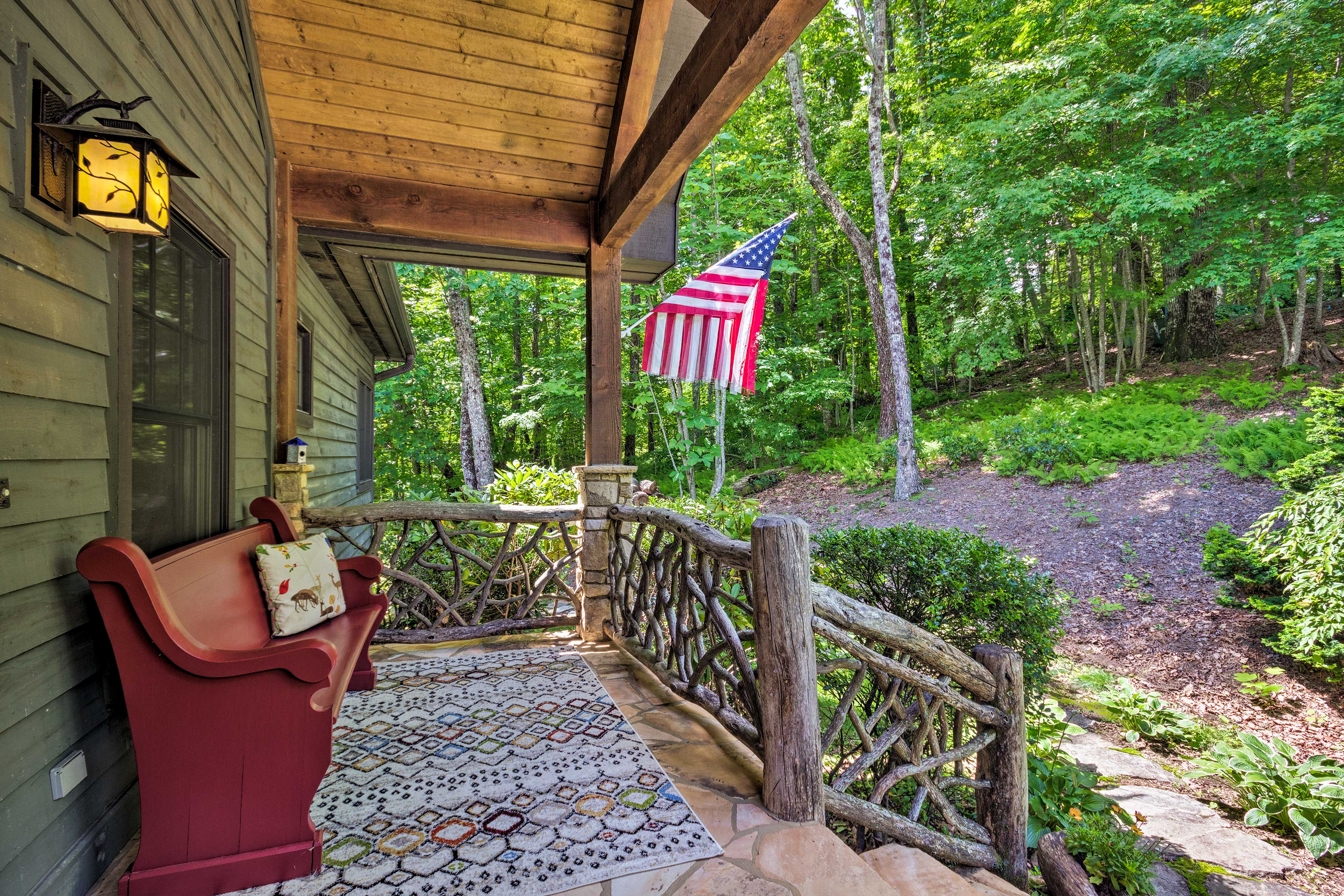 Relax with a cup of coffee on the front porch.