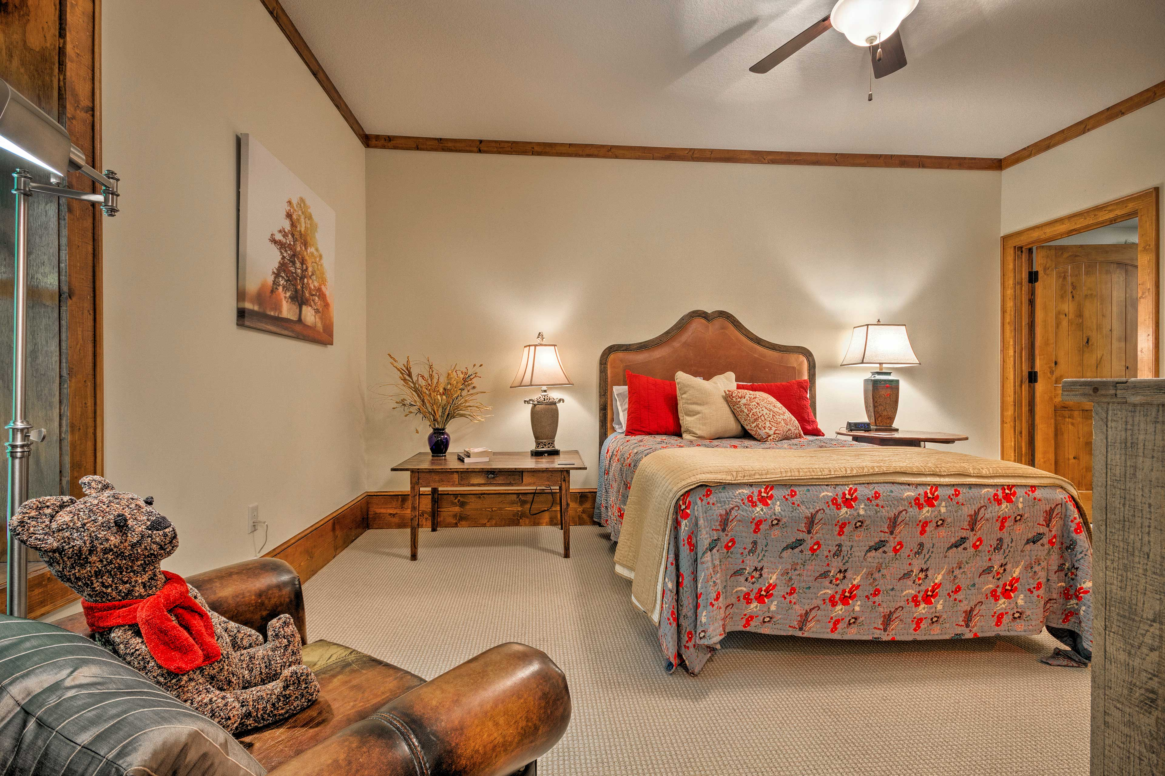 This spacious bedroom is the perfect retreat.