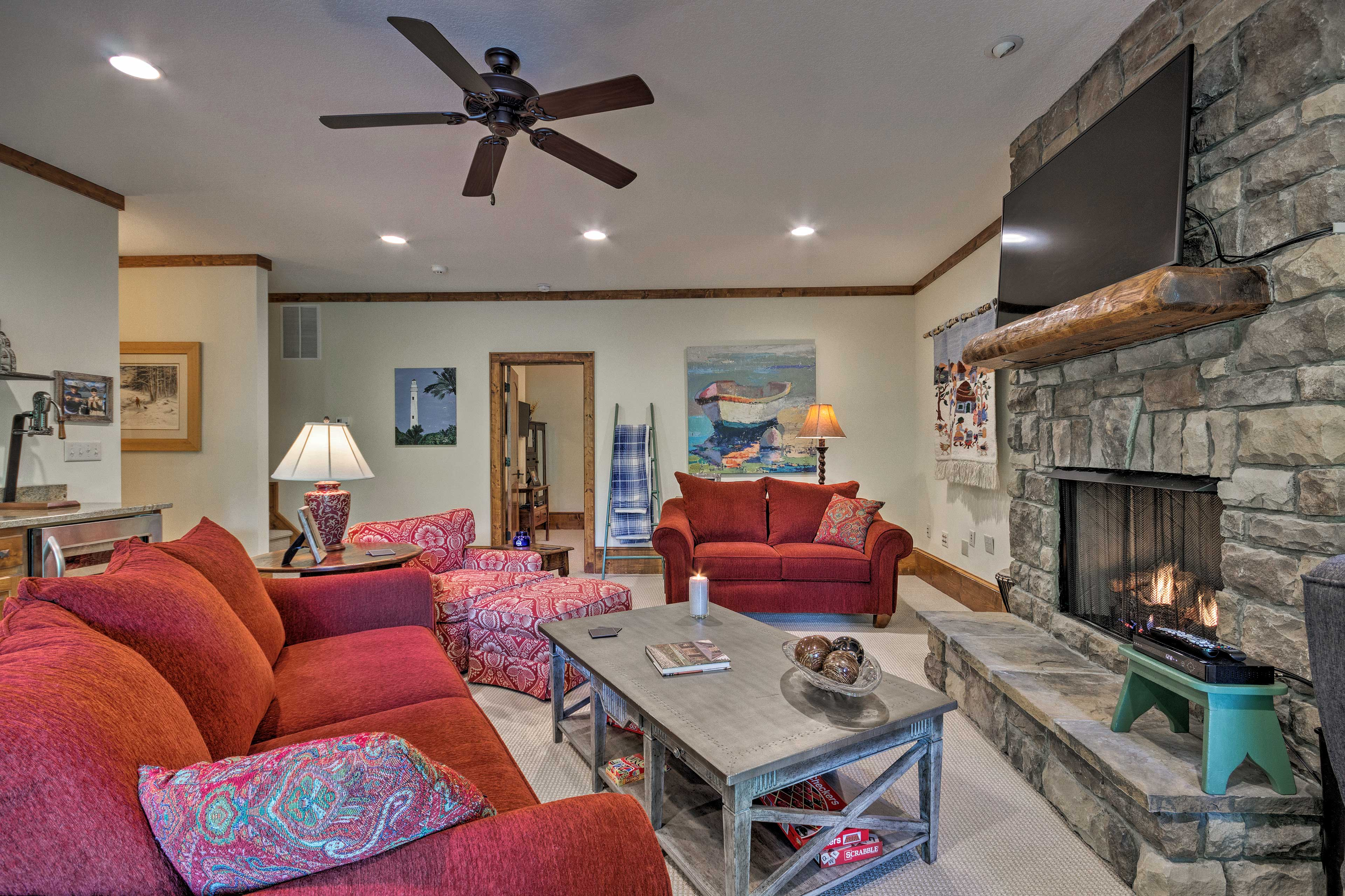 Watch TV, play games, or cozy up by the fire!
