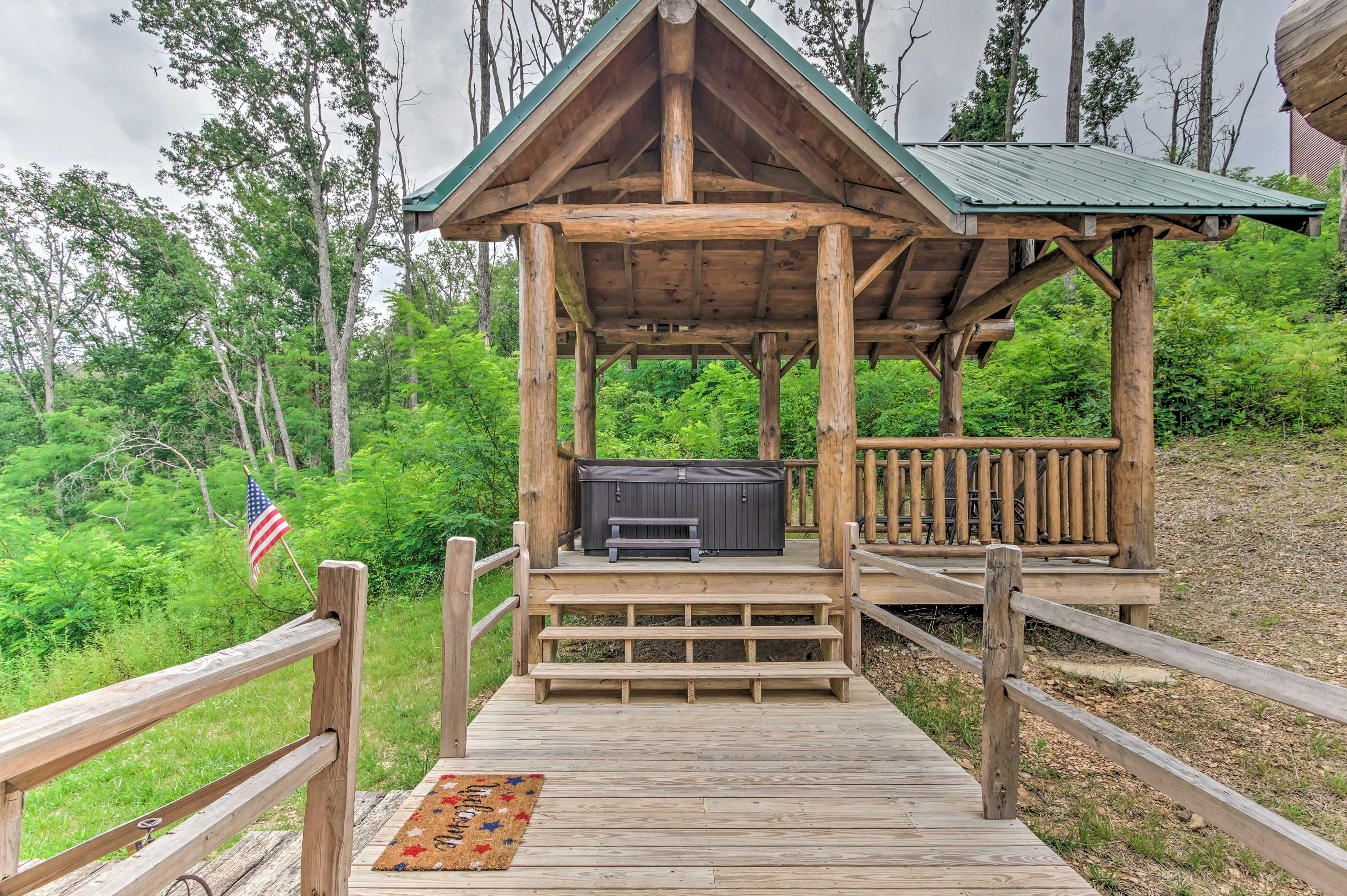 Step over to the gazebo for a dip in the hot tub.