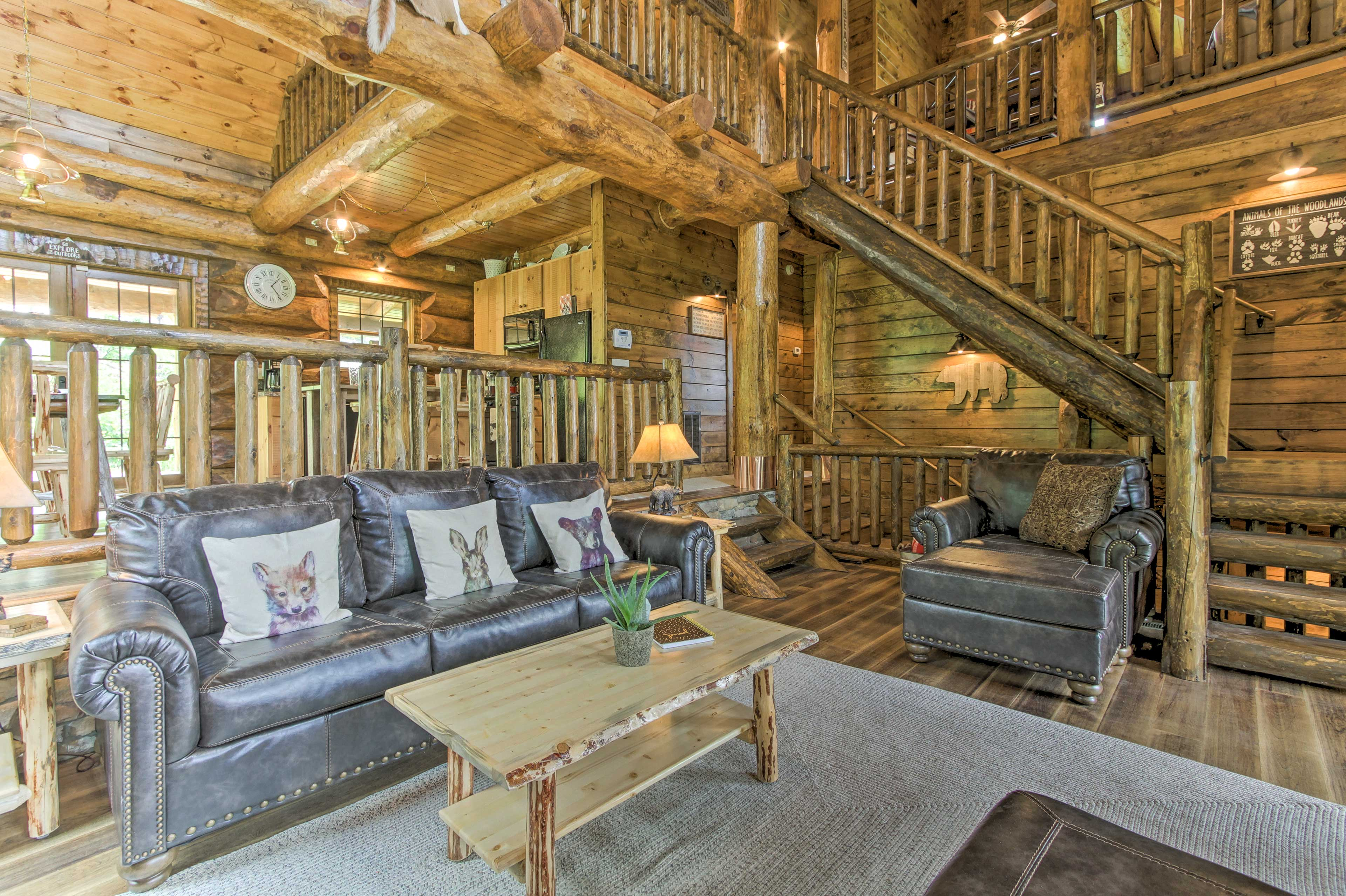 Sit back, relax, and admire the rustic decor.