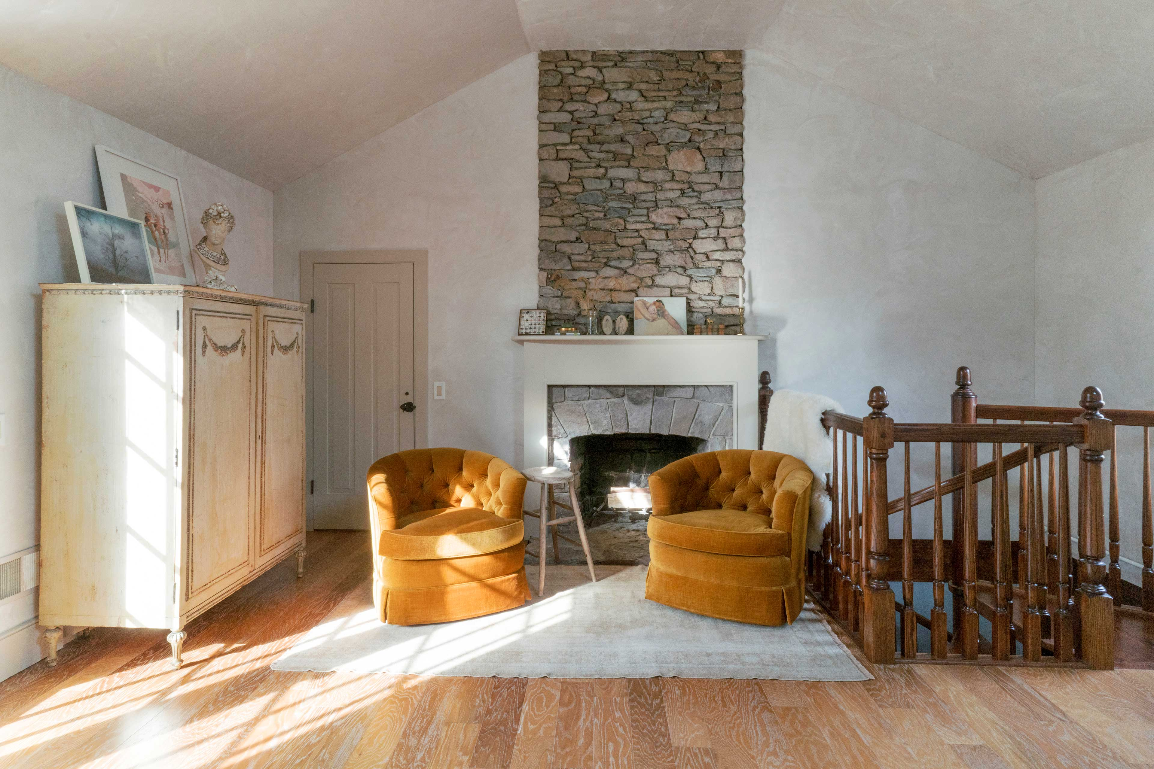 Cozy up by the fireplace in the master bedroom before drifting to sleep.