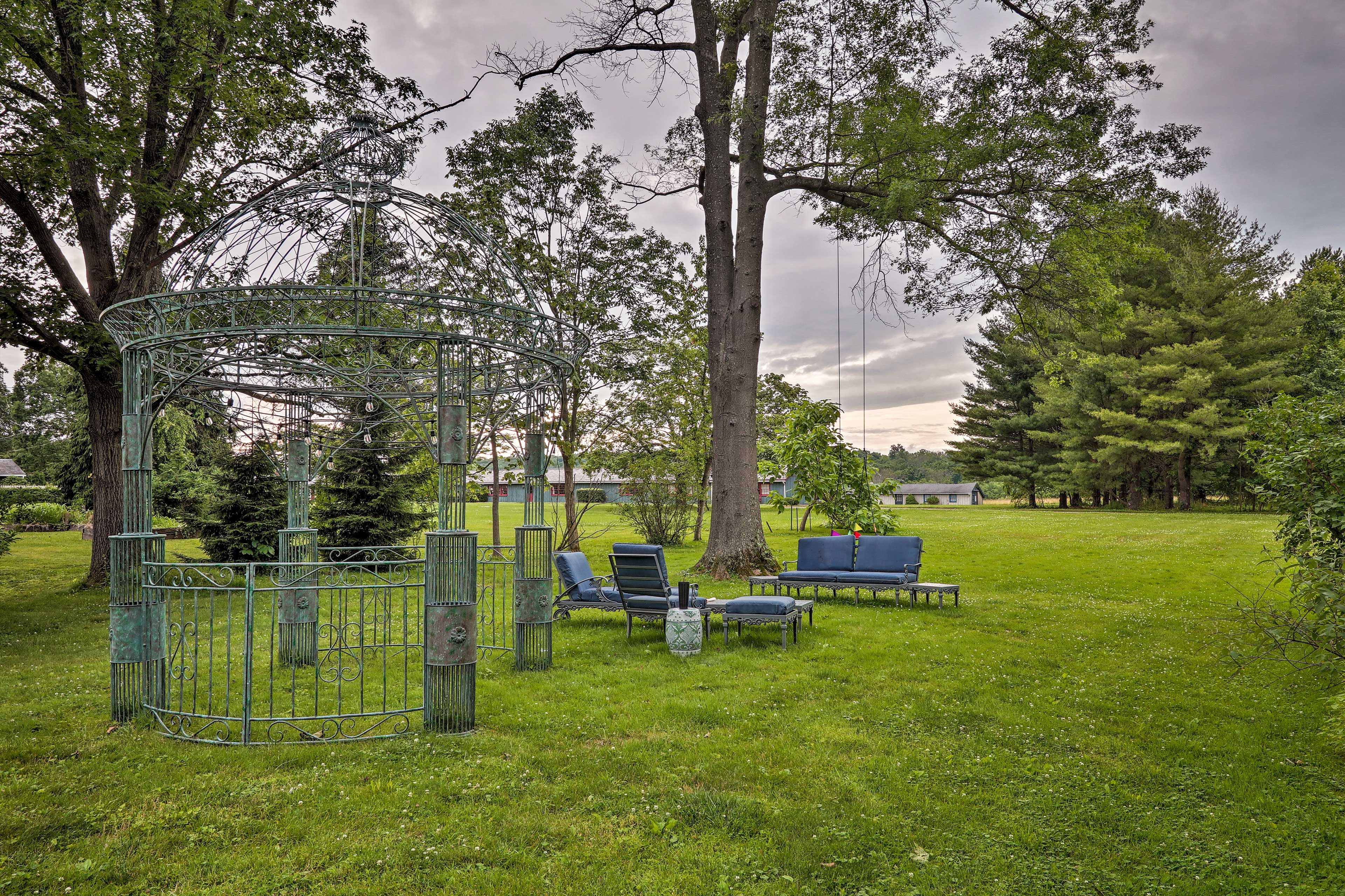 Spend quality time out in the large backyard.