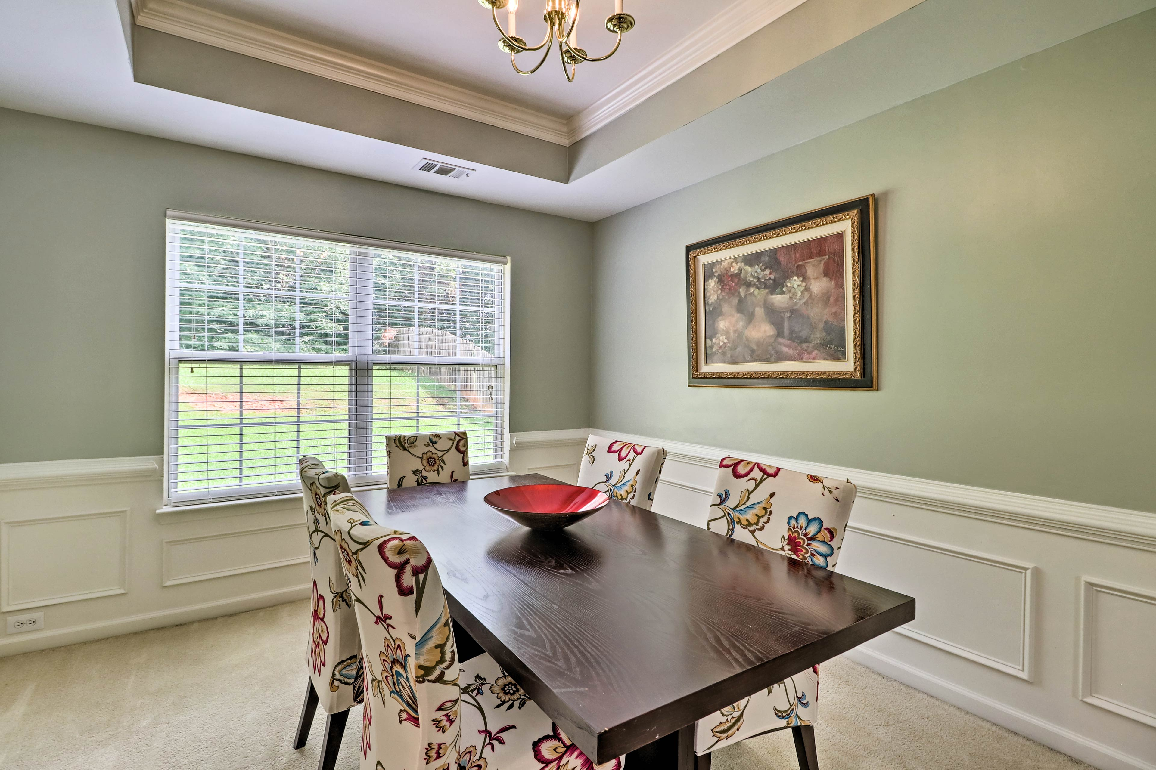 Enjoy the bright dining space.