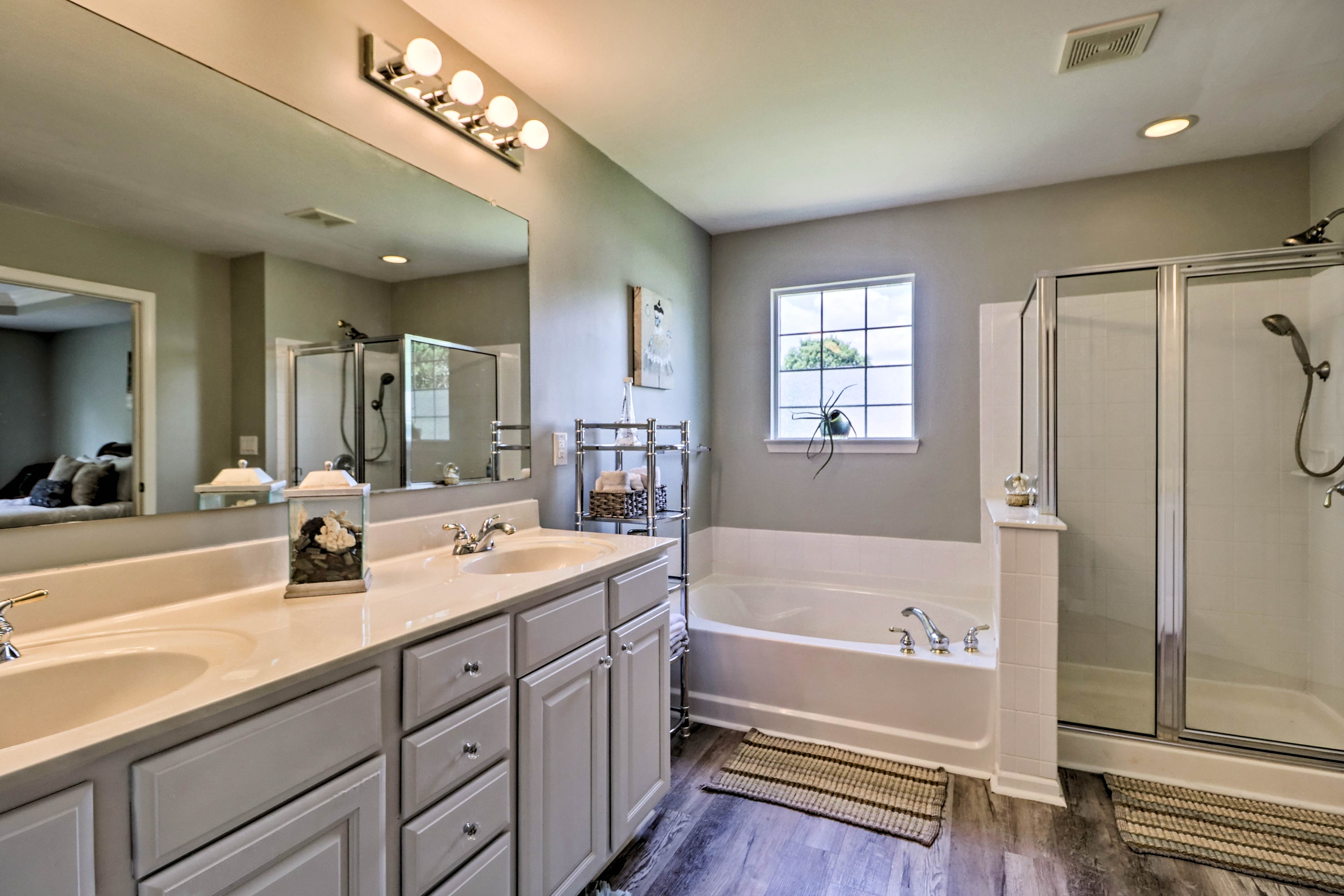 Take your time with your morning routine in the large master bath.