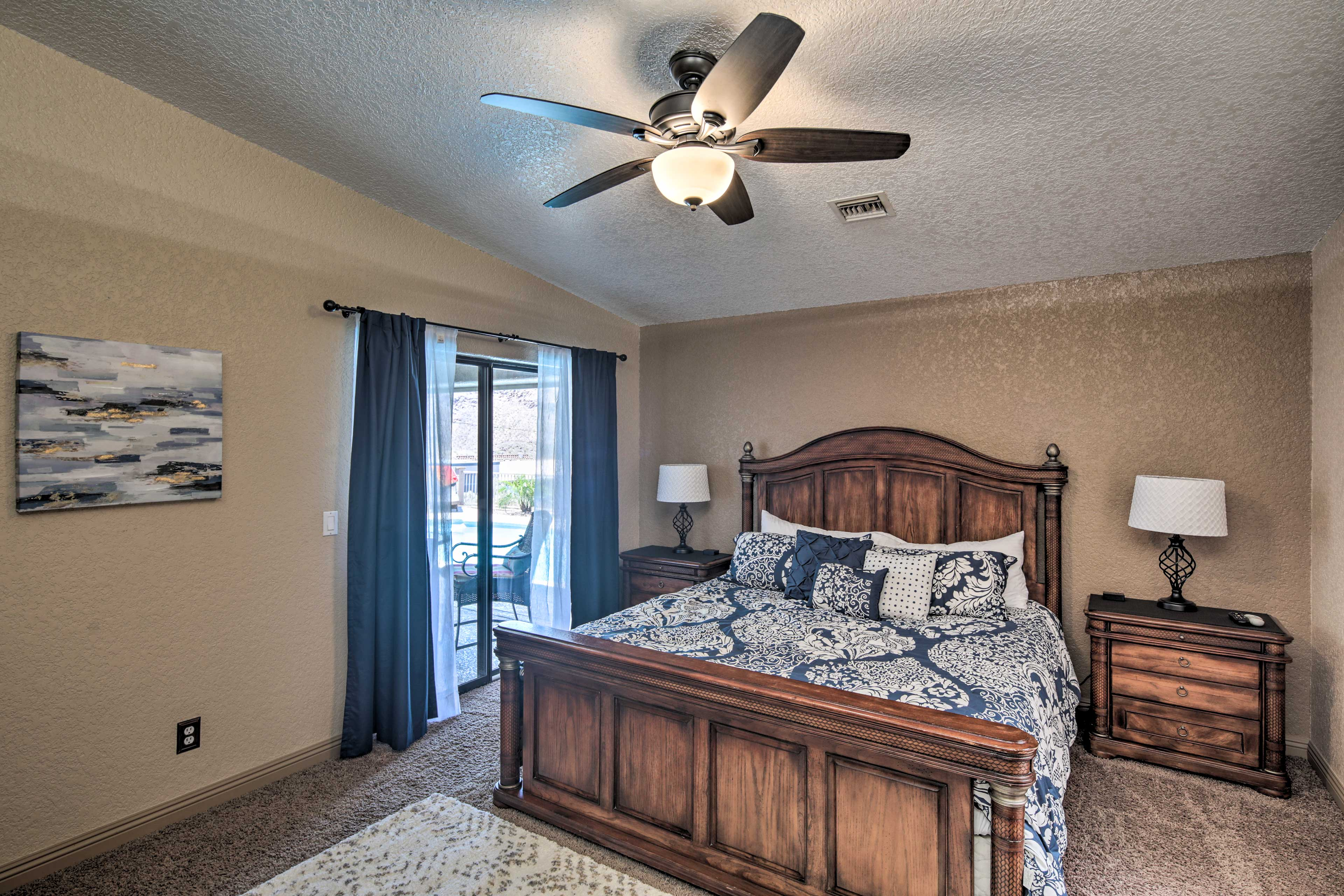The master suite also boasts access to the patio.