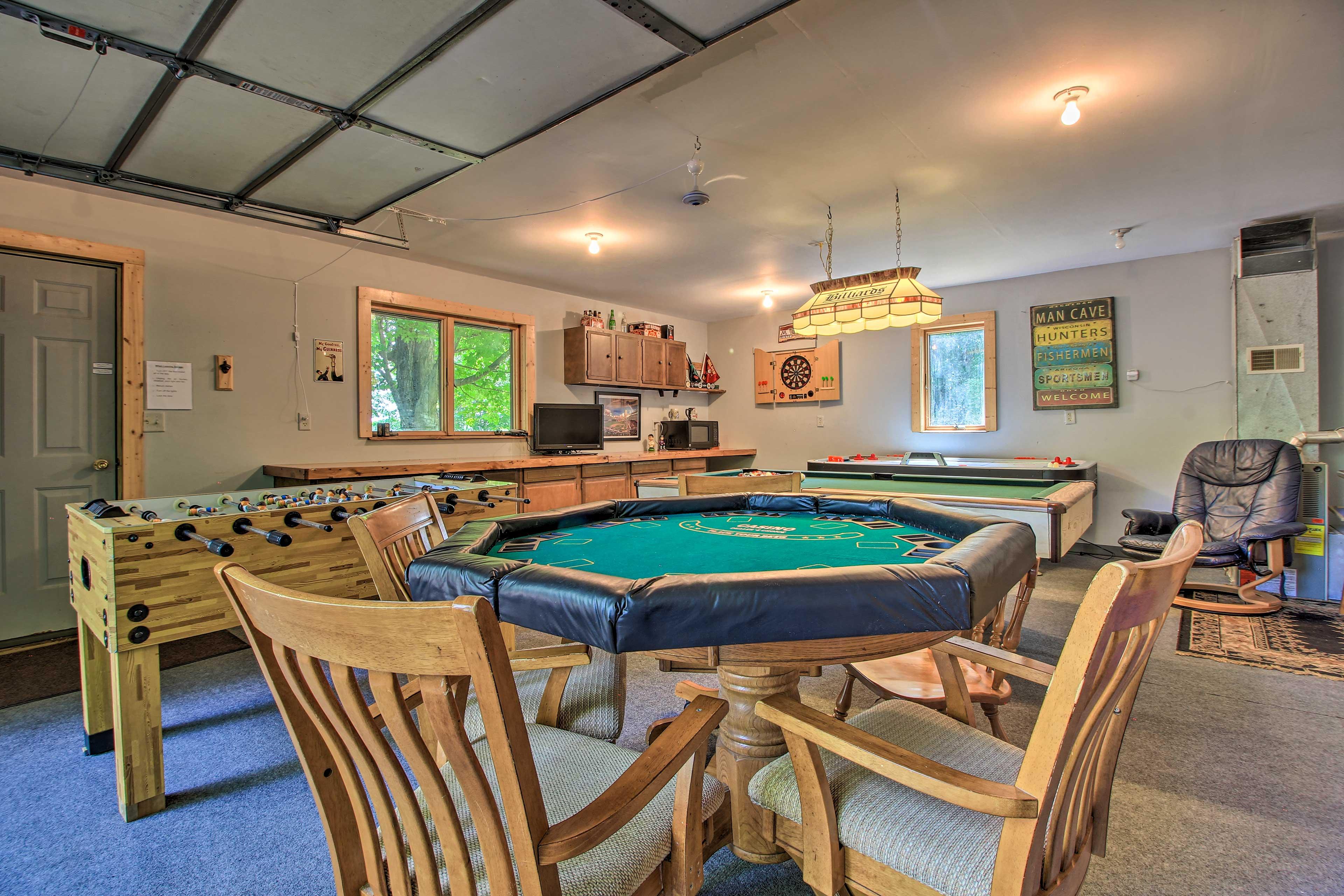 Play some poker, foosball, air hockey, ski ball, or pool.