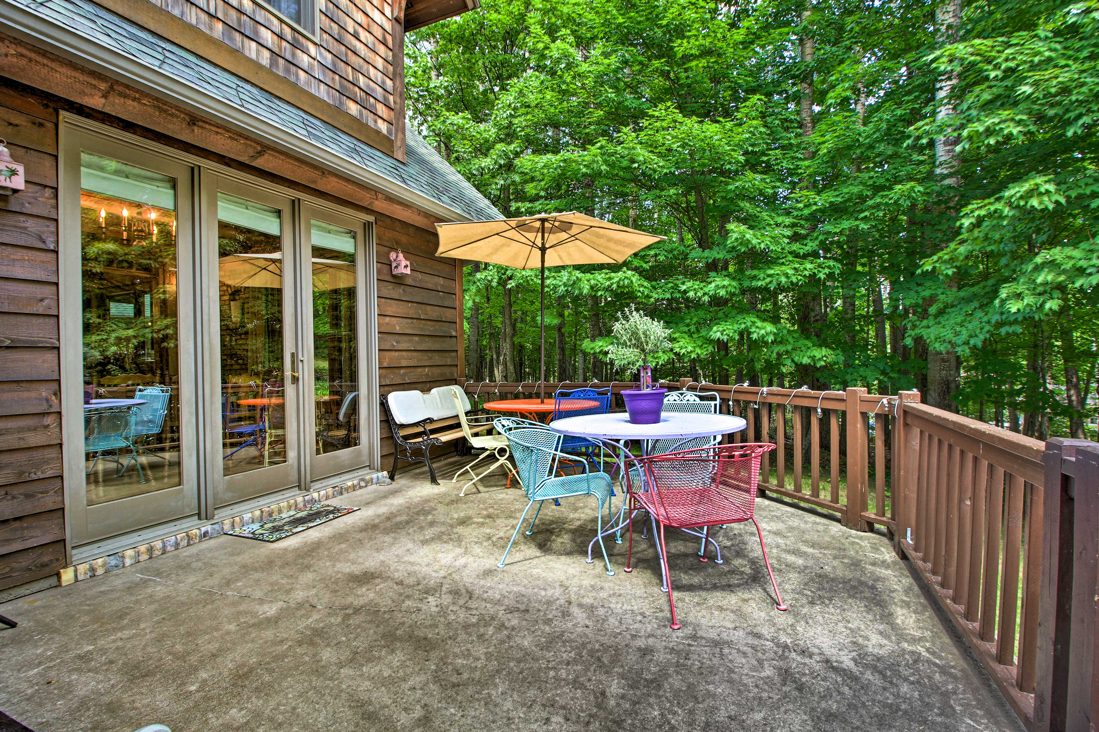 Enjoy coffee or cocktails on the furnished deck.